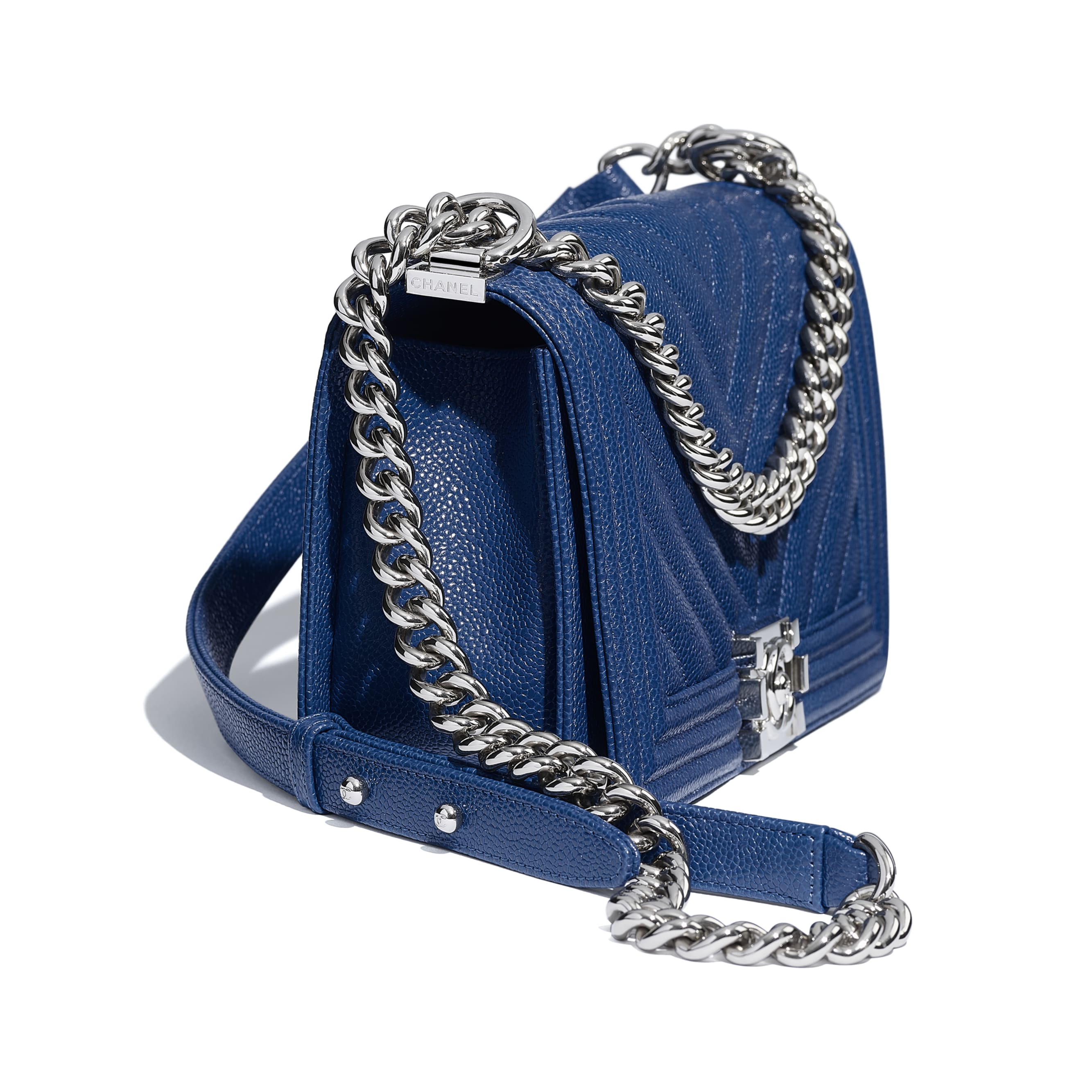 BOY CHANEL Handbag - Dark Blue - Grained Calfskin & Silver Metal - Extra view - see standard sized version