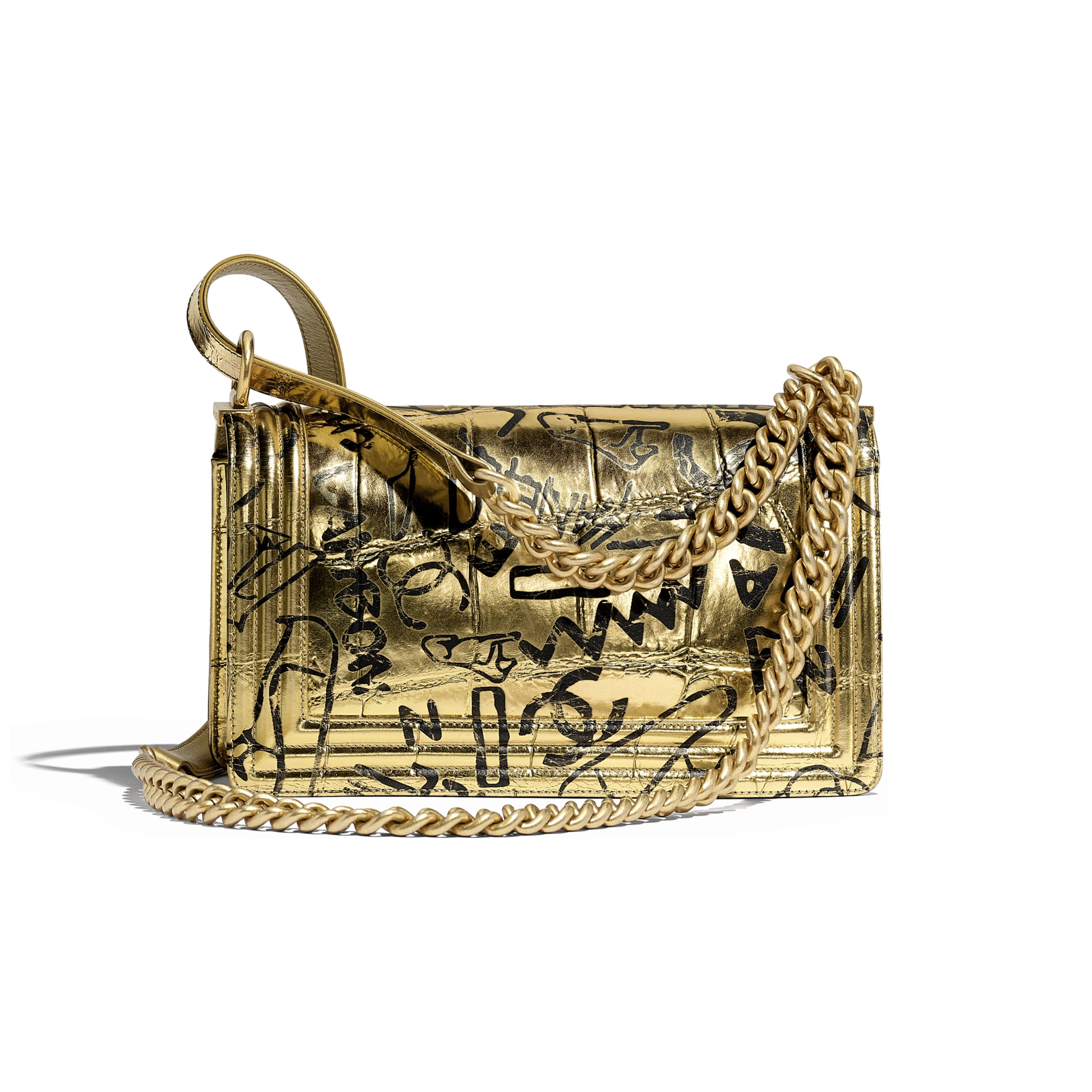 BOY CHANEL Handbag - Gold & Black - Crocodile Embossed Printed Leather & Gold-Tone Metal - Alternative view - see standard sized version