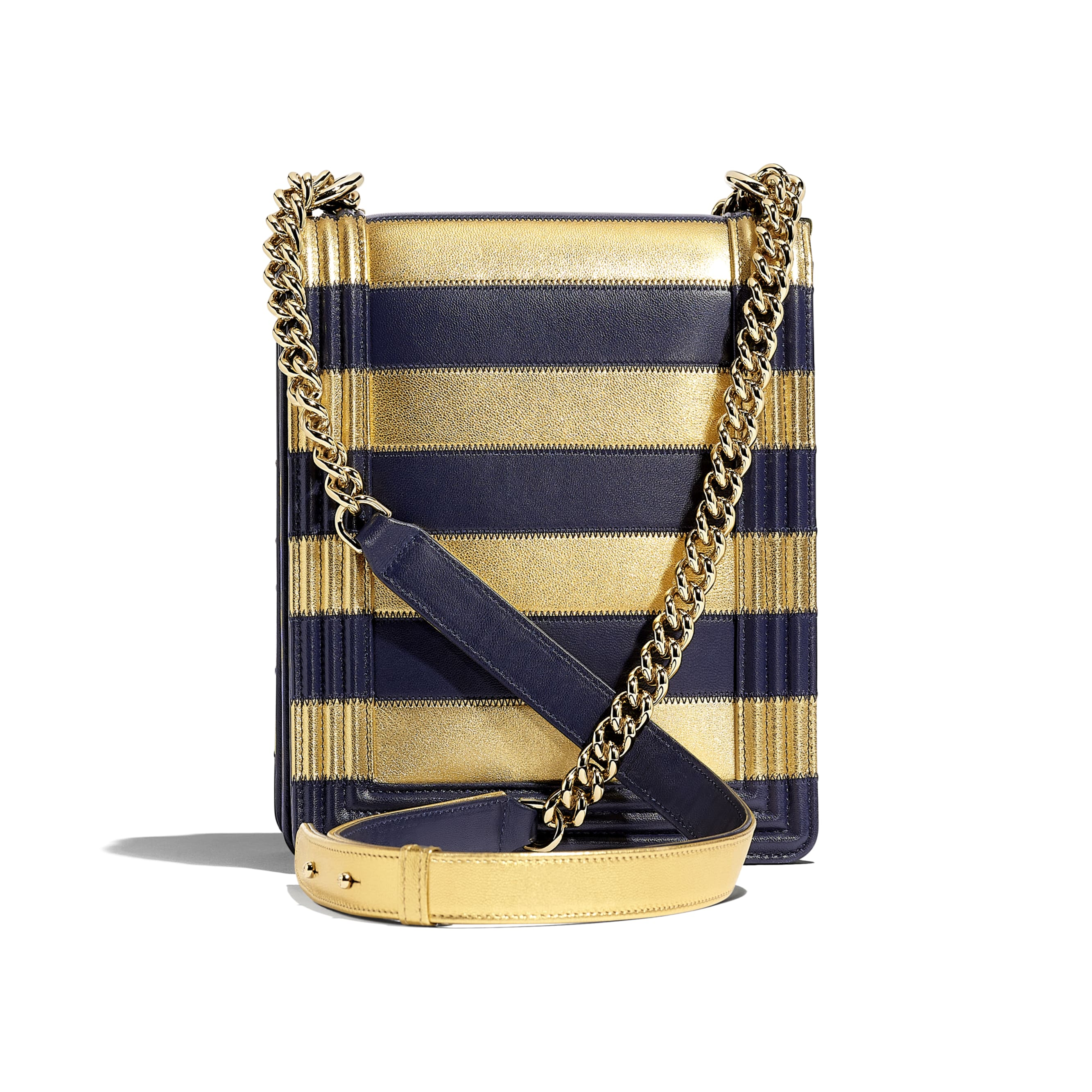 BOY CHANEL Handbag - Gold & Navy Blue - Lambskin, Calfskin & Gold-Tone Metal - Alternative view - see standard sized version