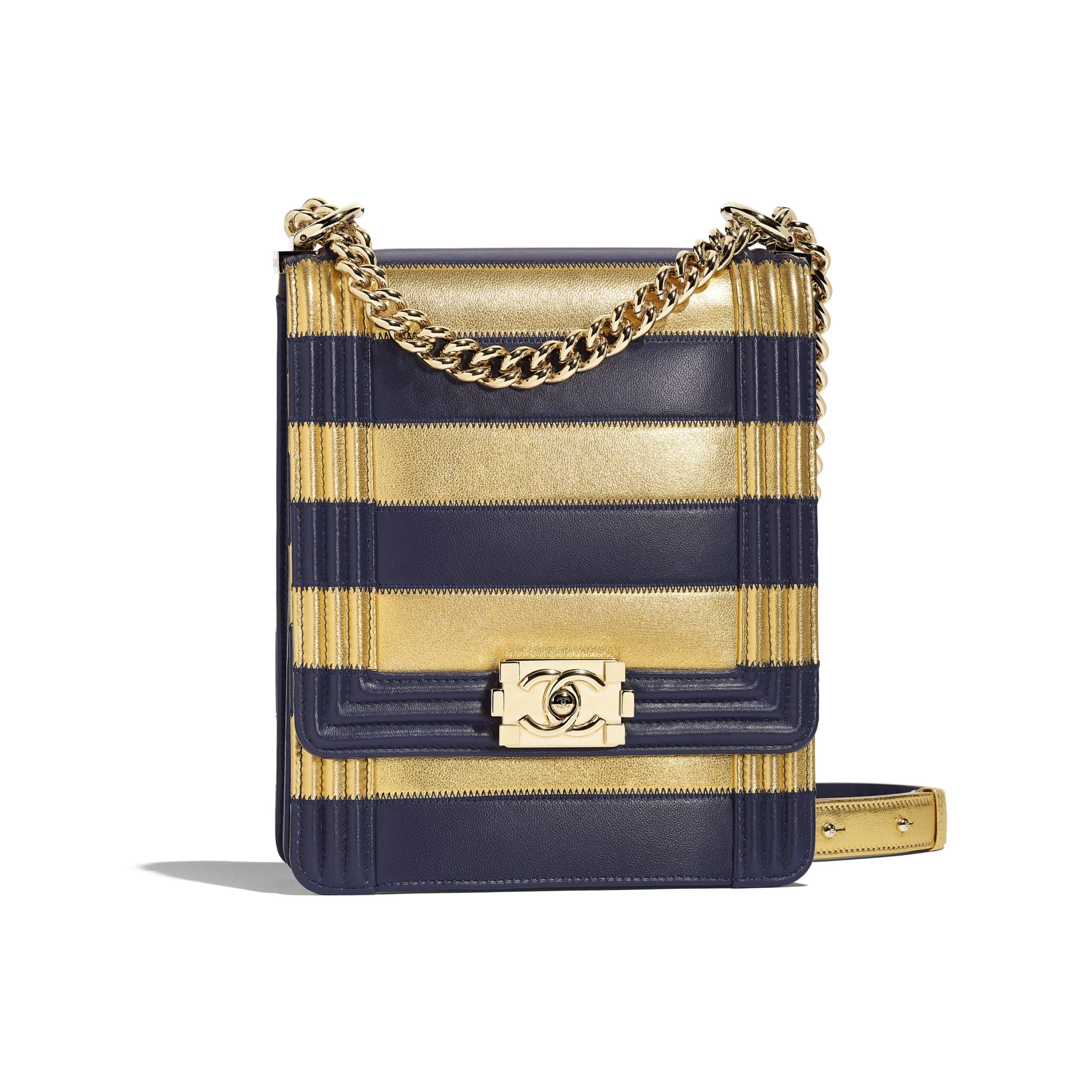 BOY CHANEL Handbag - Gold & Navy Blue - Lambskin, Calfskin & Gold-Tone Metal - Default view - see standard sized version