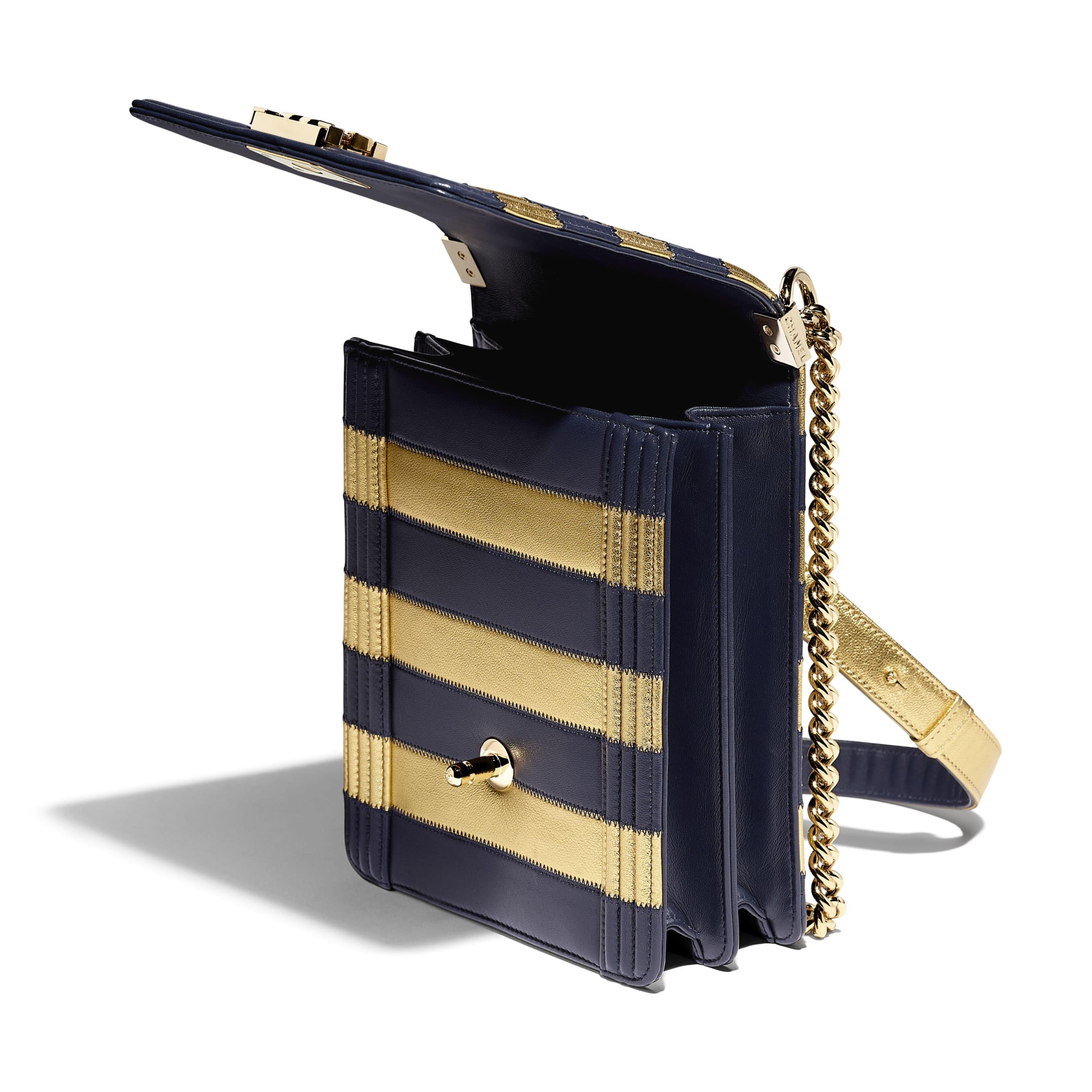 BOY CHANEL Handbag - Gold & Navy Blue - Lambskin, Calfskin & Gold-Tone Metal - Other view - see standard sized version