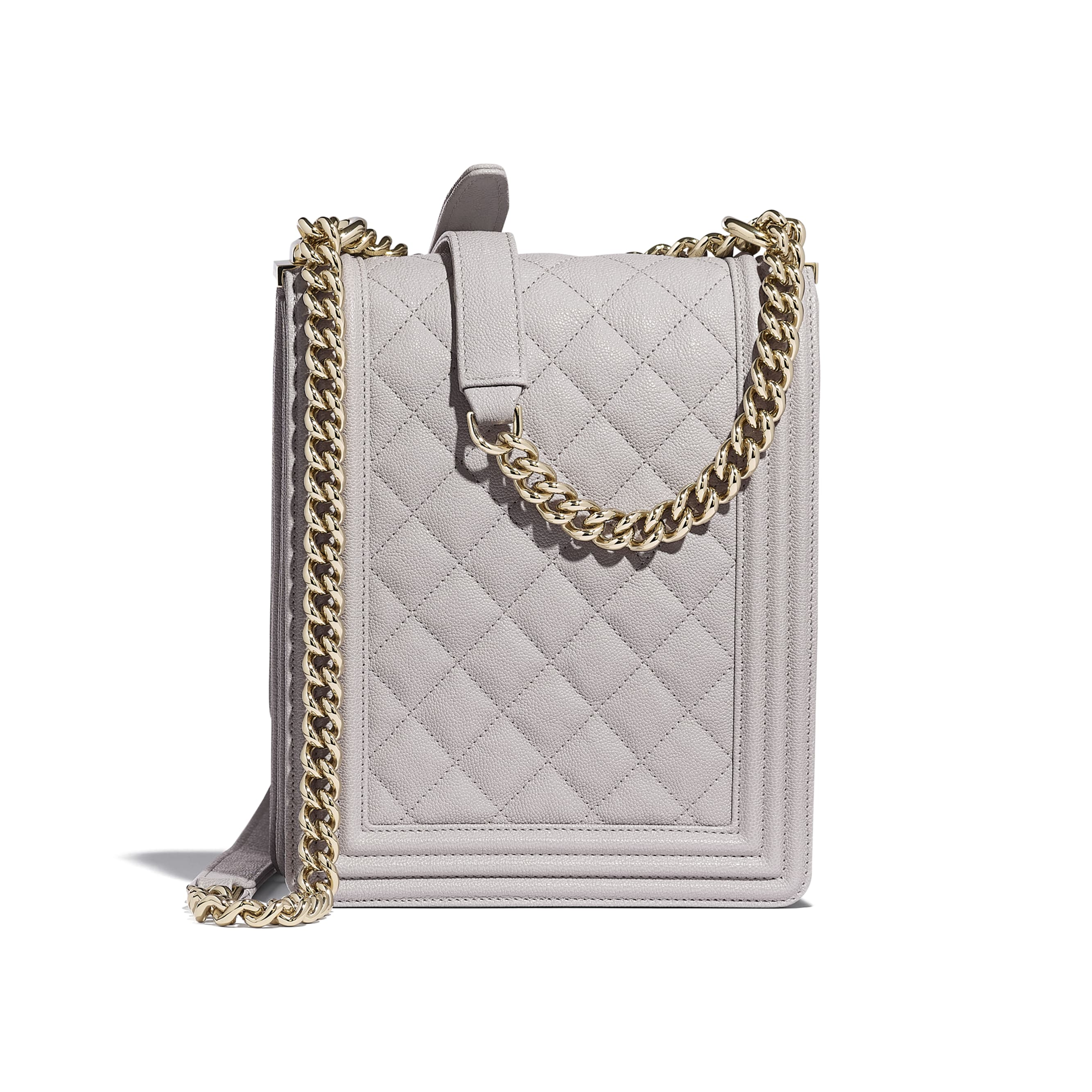 BOY CHANEL Handbag - Grey - Grained Calfskin & Gold-Tone Metal - Alternative view - see standard sized version