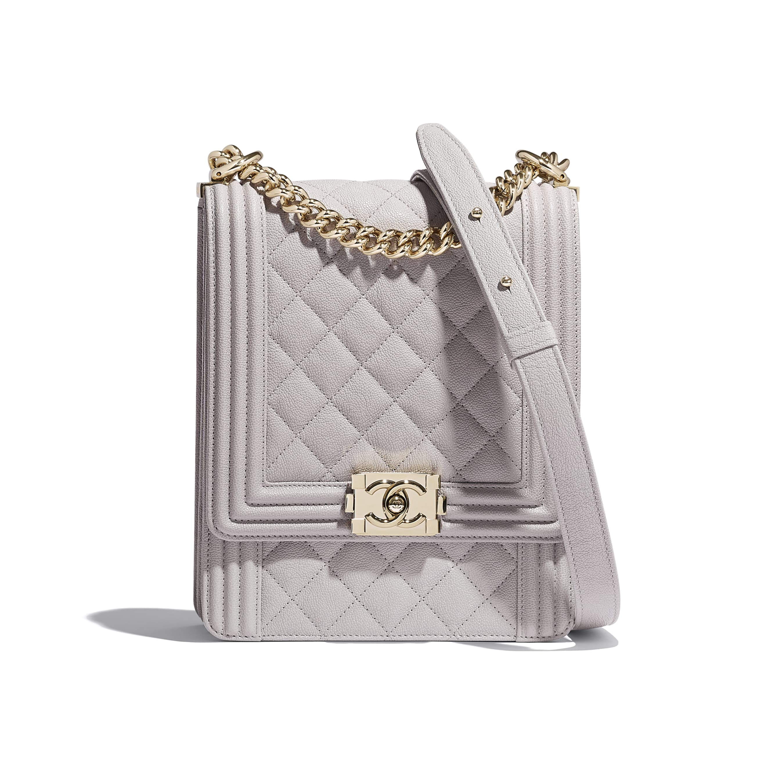 BOY CHANEL Handbag - Grey - Grained Calfskin & Gold-Tone Metal - Default view - see standard sized version