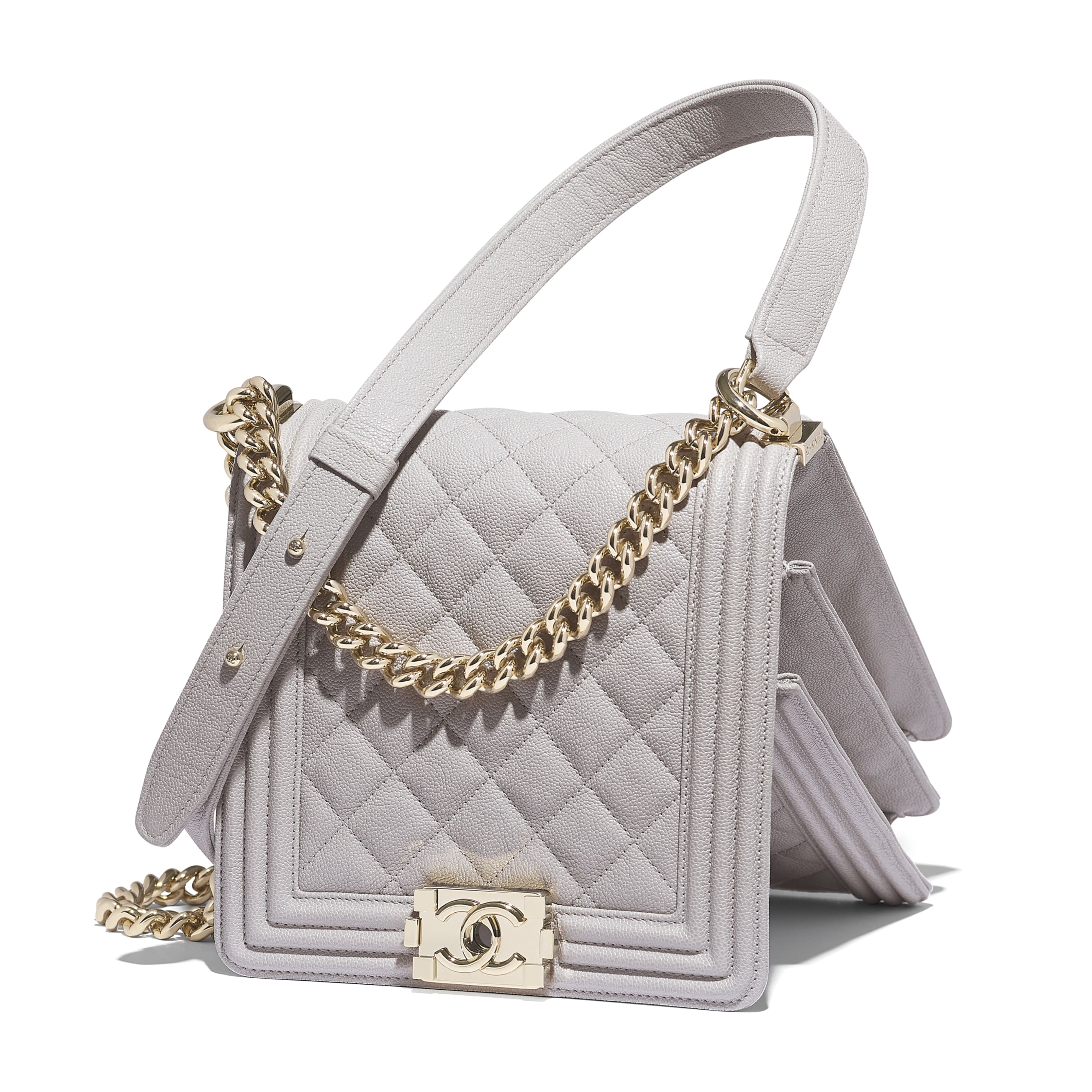 BOY CHANEL Handbag - Grey - Grained Calfskin & Gold-Tone Metal - Extra view - see standard sized version