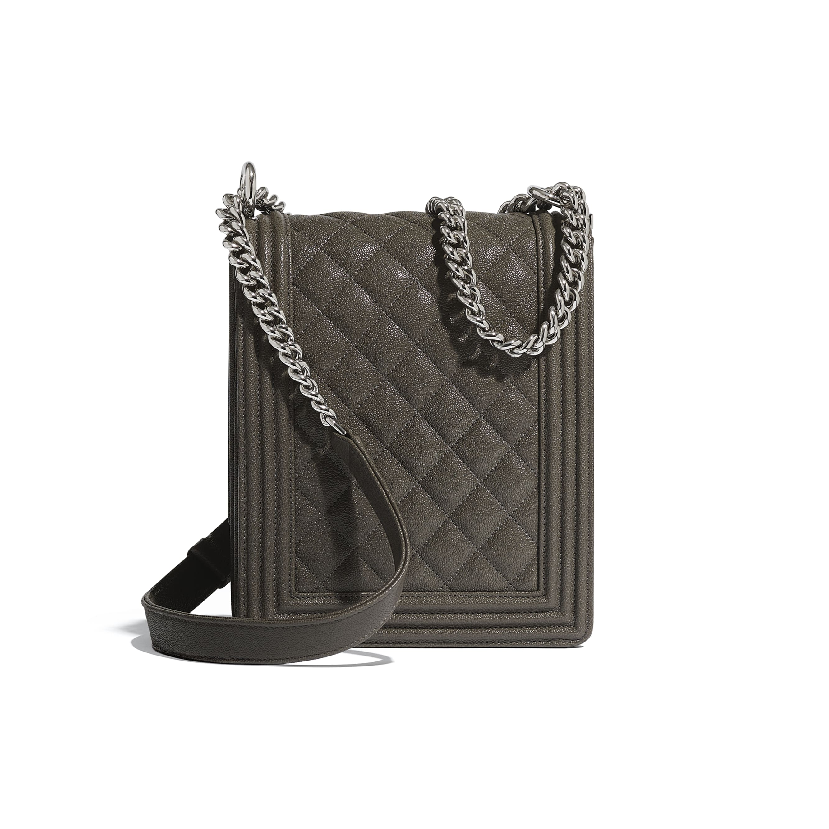 BOY CHANEL Handbag - Grey - Grained Calfskin & Silver Metal - Alternative view - see standard sized version