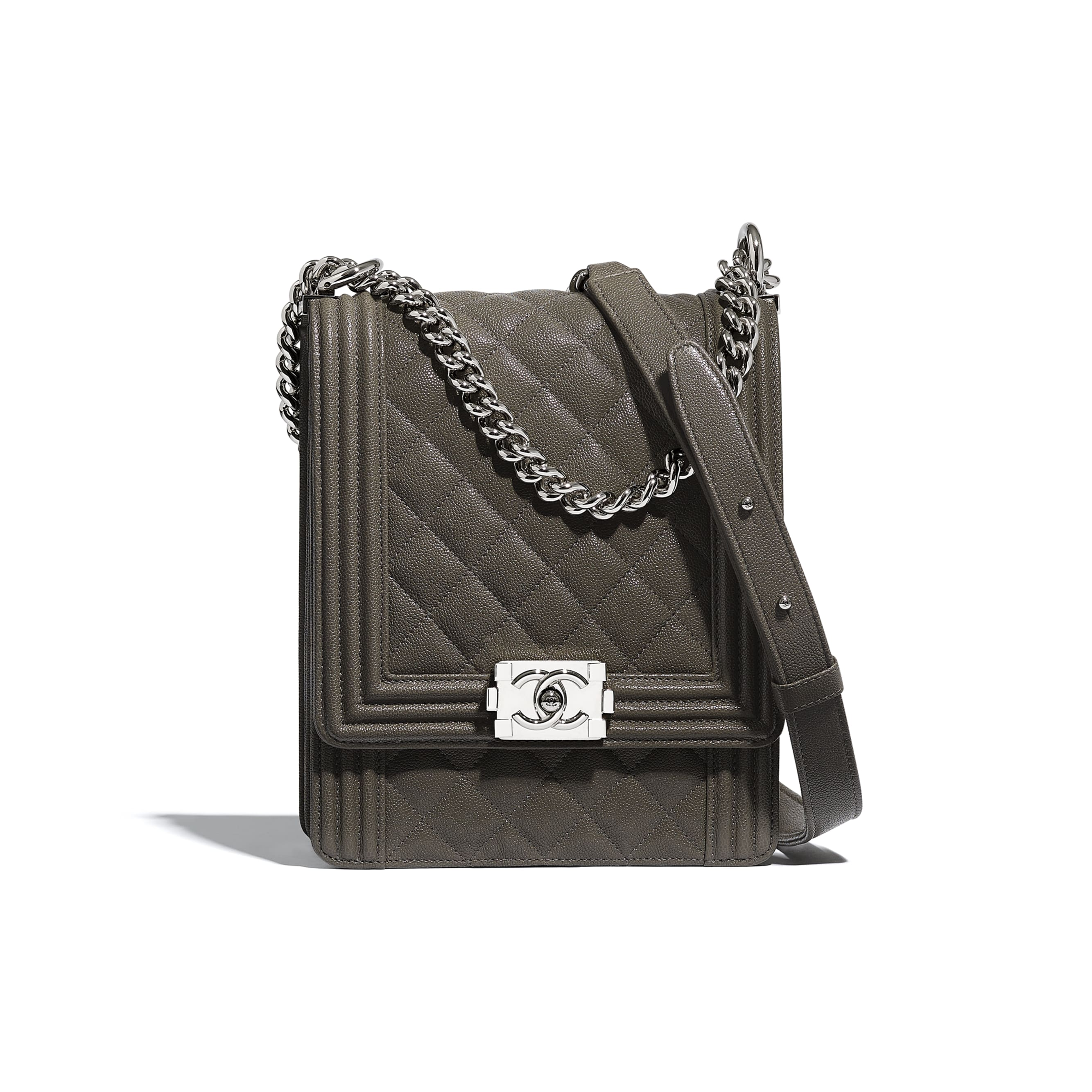 BOY CHANEL Handbag - Grey - Grained Calfskin & Silver Metal - Default view - see standard sized version