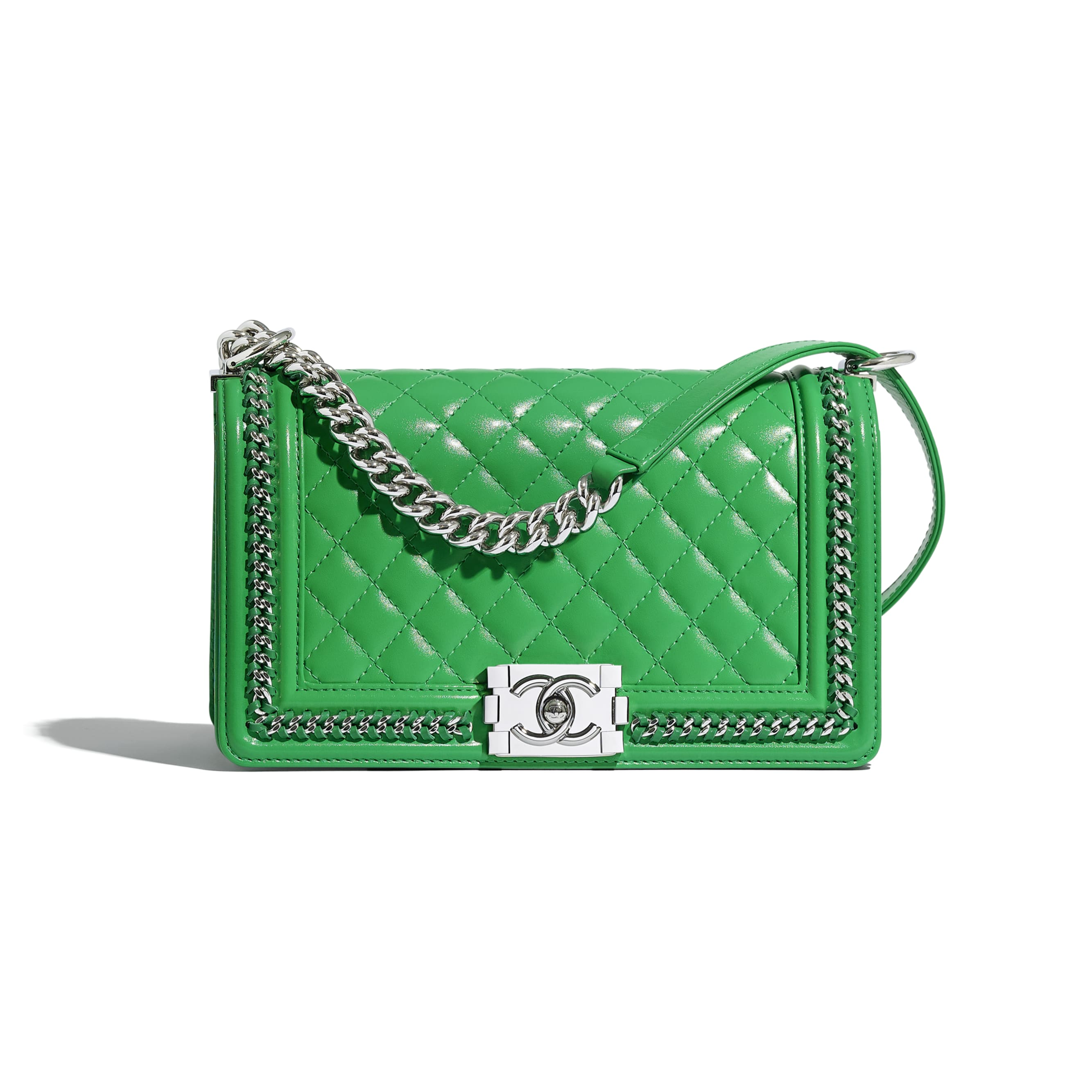 BOY CHANEL Handbag - Green - Calfskin & Gold-Tone Metal - CHANEL - Default view - see standard sized version