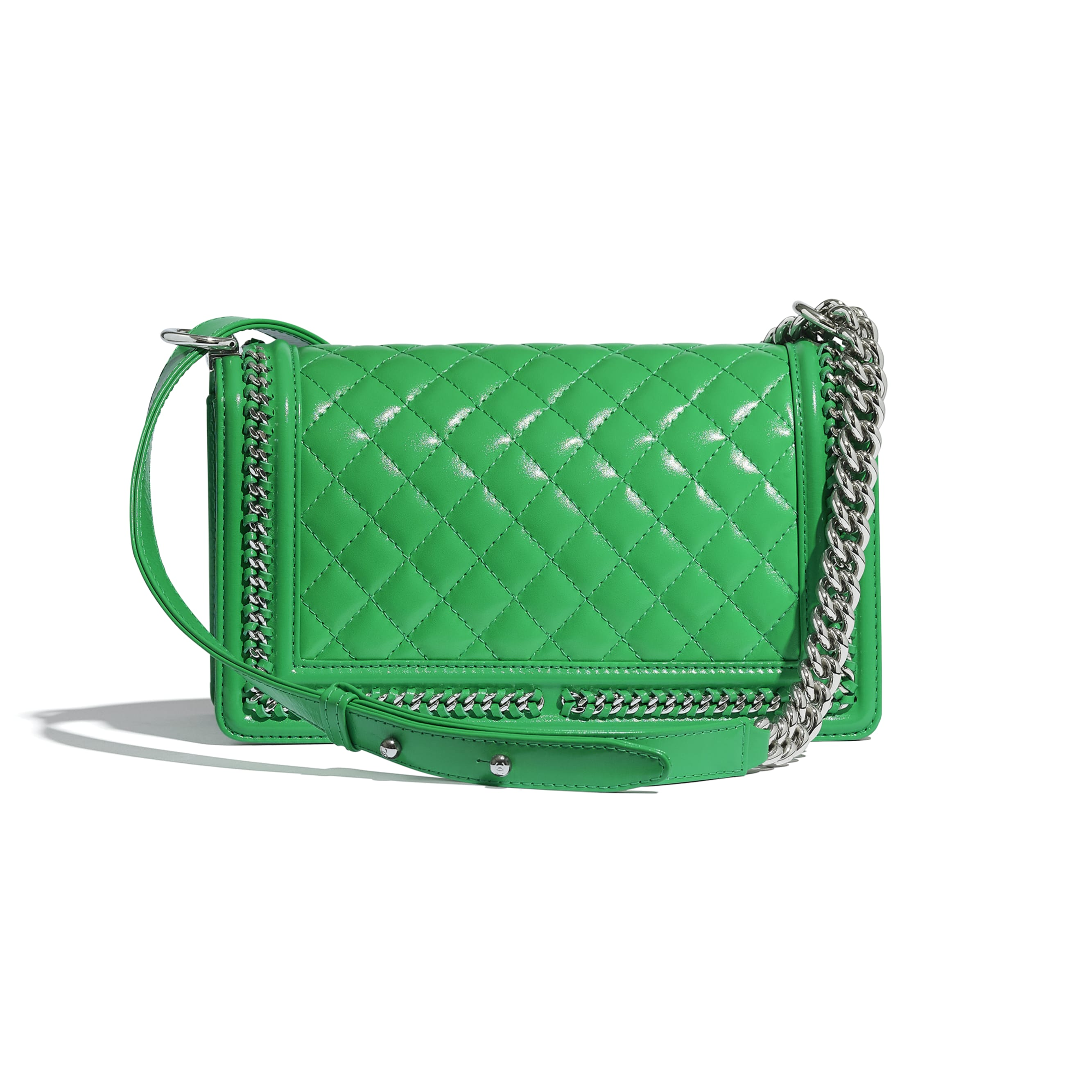 BOY CHANEL Handbag - Green - Calfskin & Silver Metal - CHANEL - Alternative view - see standard sized version