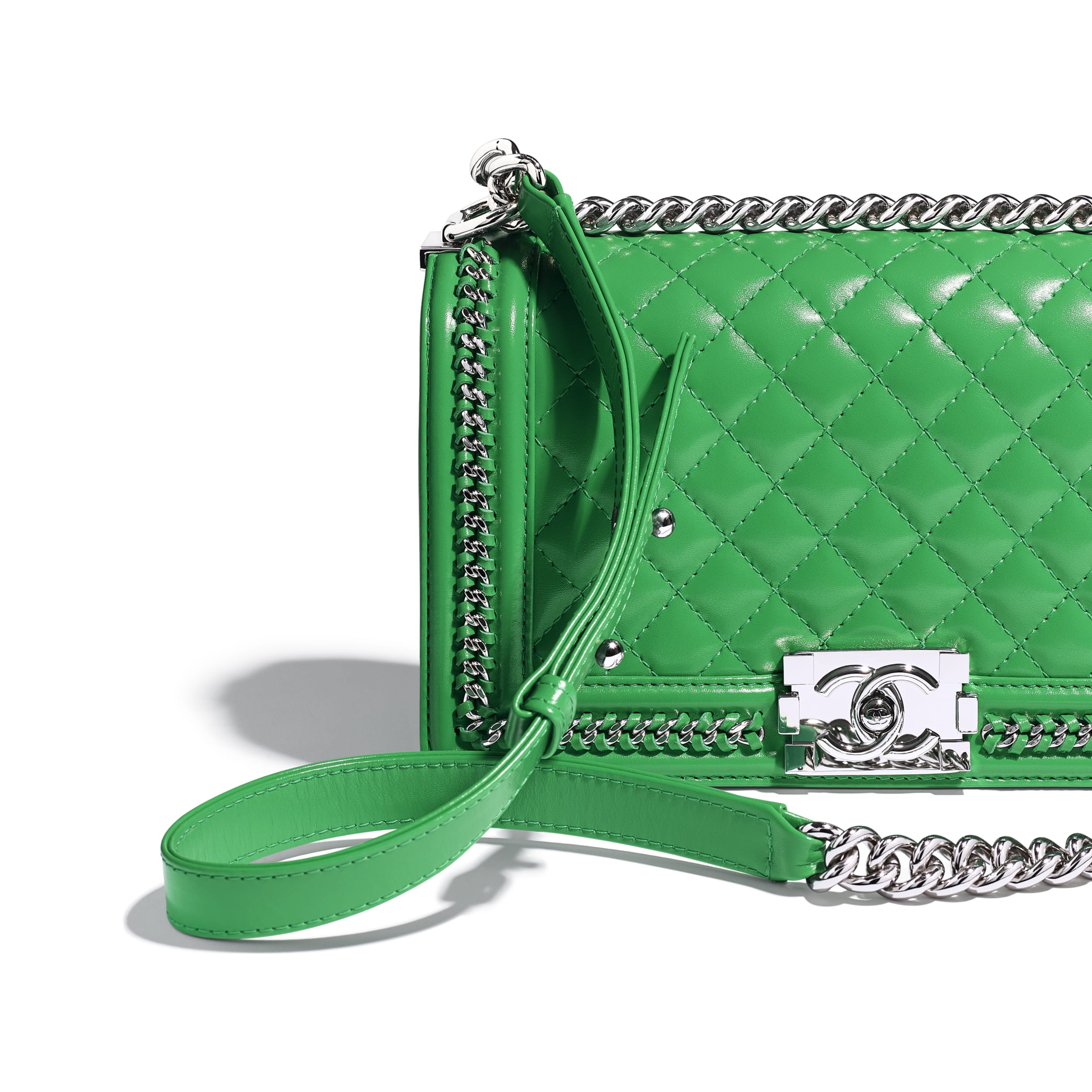 BOY CHANEL Handbag - Green - Calfskin & Silver Metal - CHANEL - Extra view - see standard sized version
