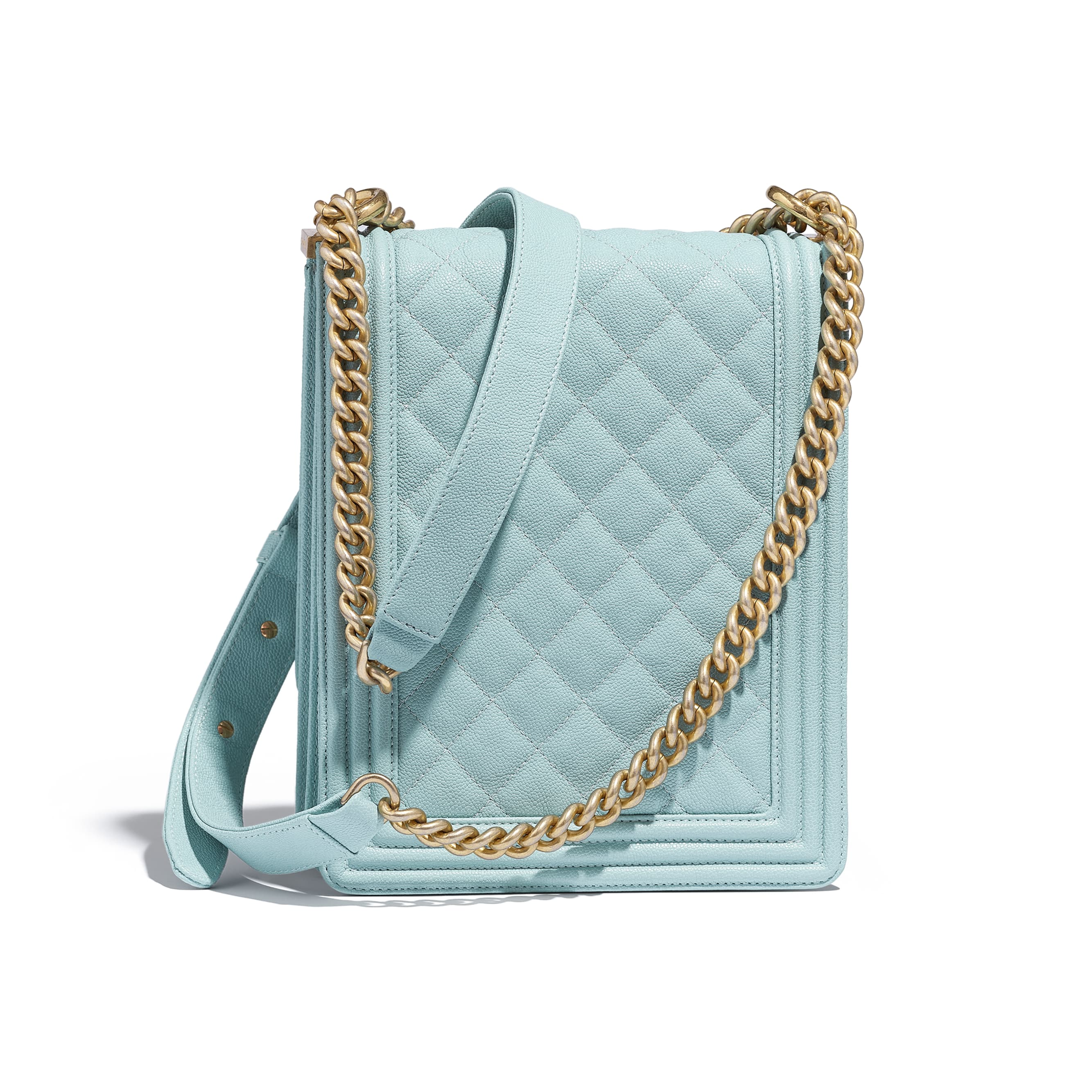 e681366d74f0 ... BOY CHANEL Handbag - Light Blue - Grained Calfskin   Gold-Tone Metal -  Alternative