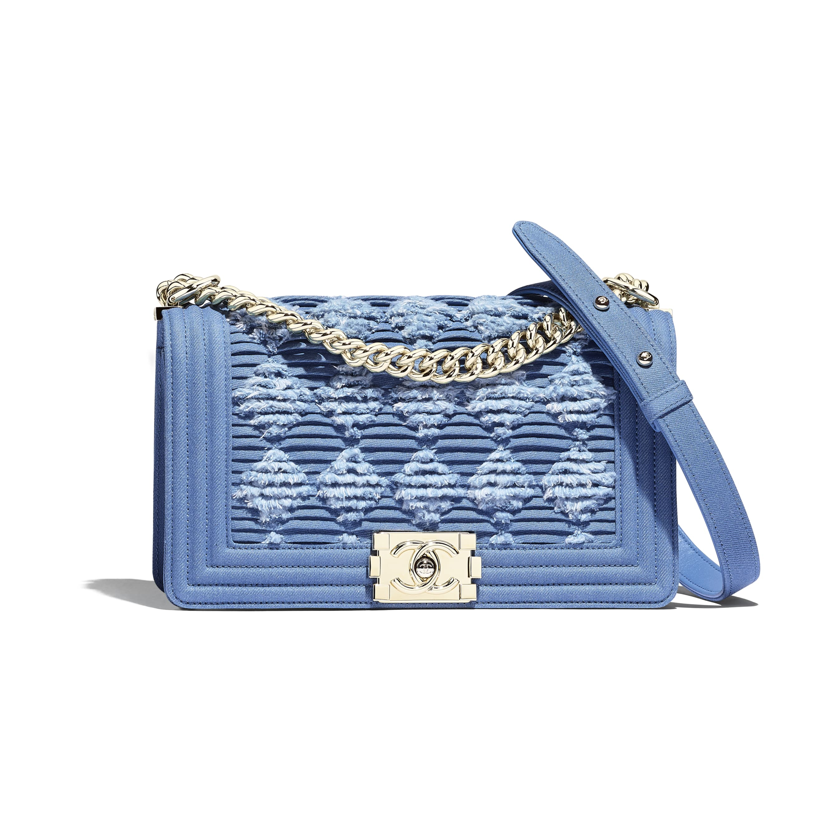BOY CHANEL Handbag - Light Blue -  Pleated Denim & Gold-Tone Metal - CHANEL - Default view - see standard sized version