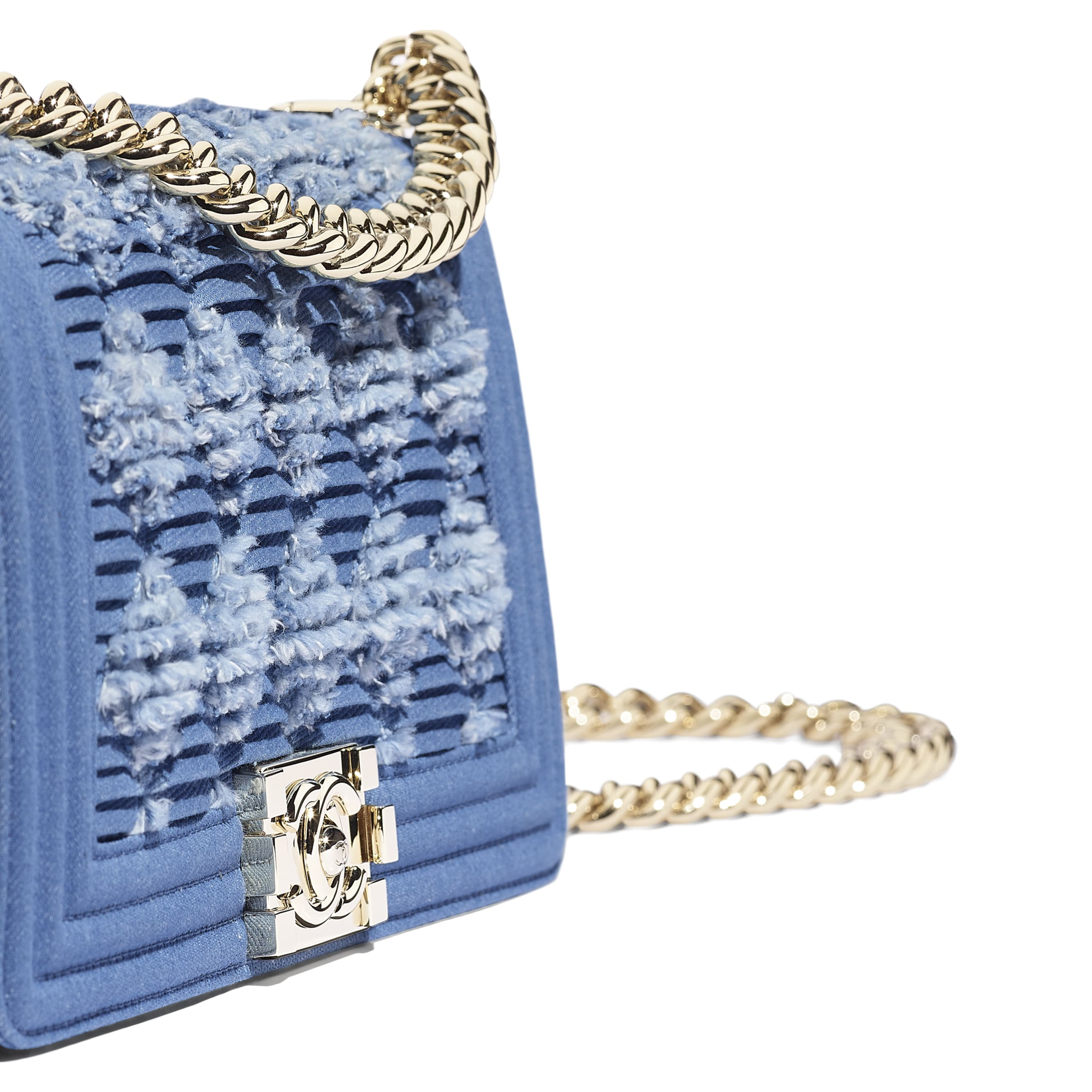 BOY CHANEL Handbag - Light Blue -  Pleated Denim & Gold-Tone Metal - CHANEL - Extra view - see standard sized version