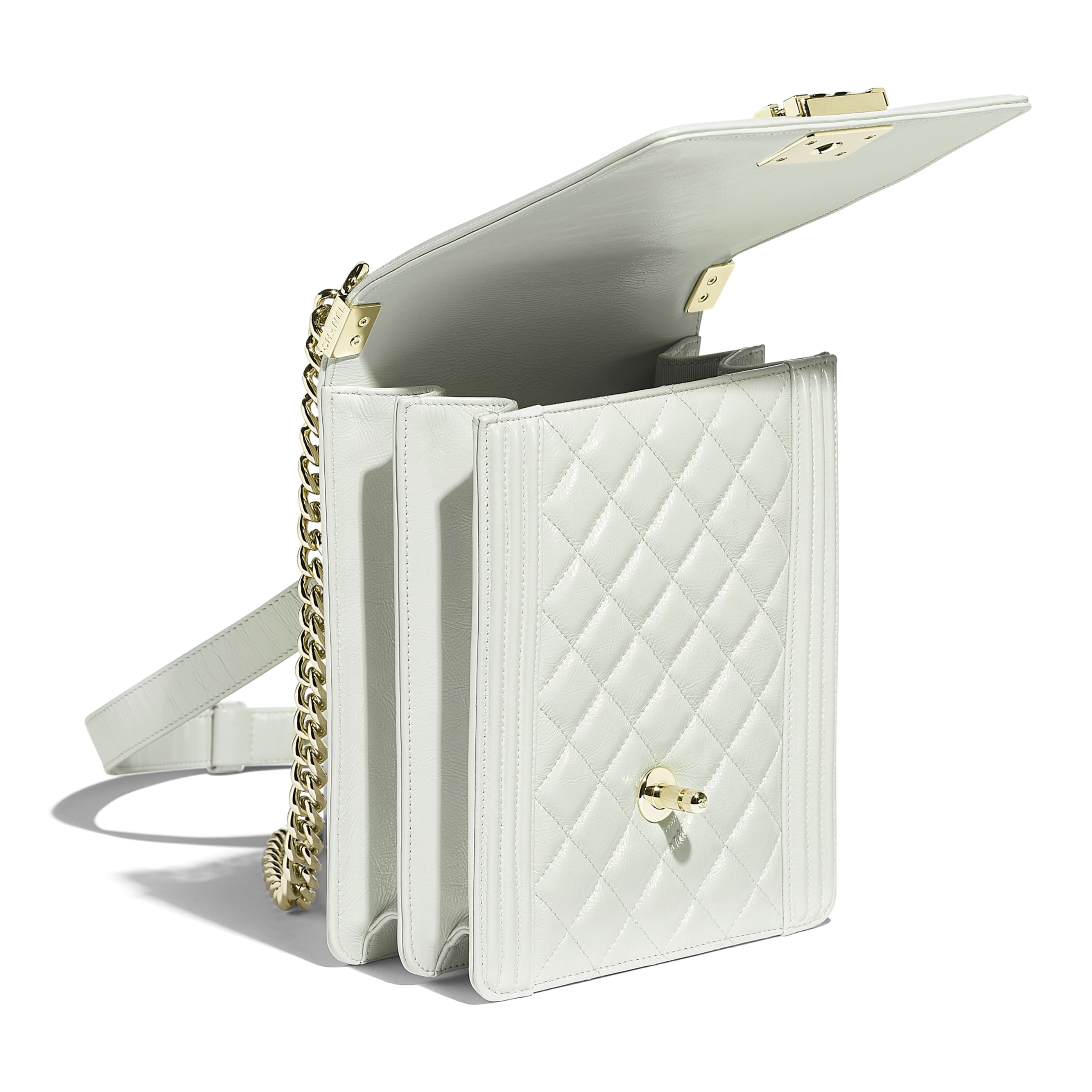 BOY CHANEL Handbag - Light Gray - Iridescent Calfskin & Gold-Tone Metal - Other view - see standard sized version