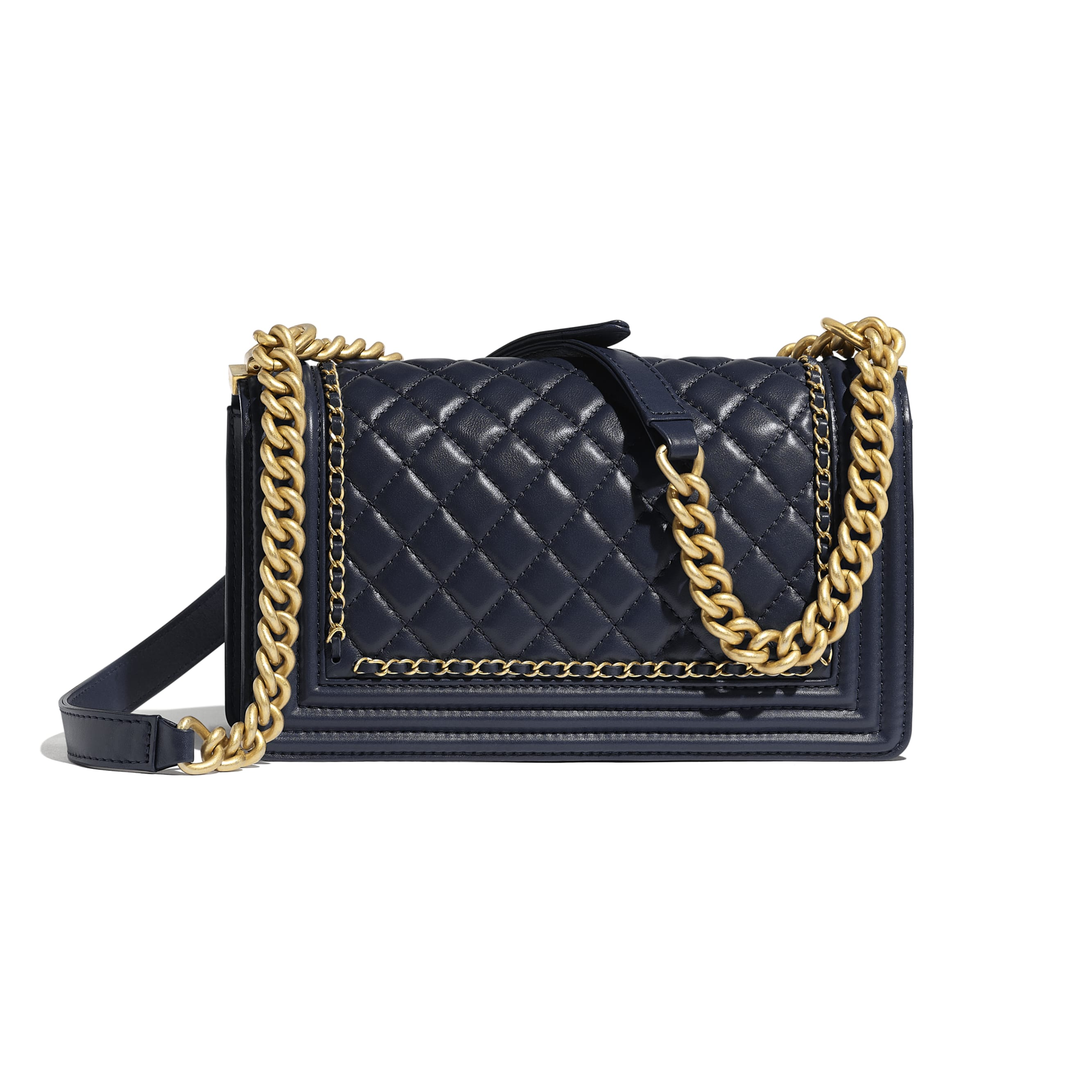 BOY CHANEL Handbag - Navy Blue - Calfskin & Gold-Tone Metal - Alternative view - see standard sized version