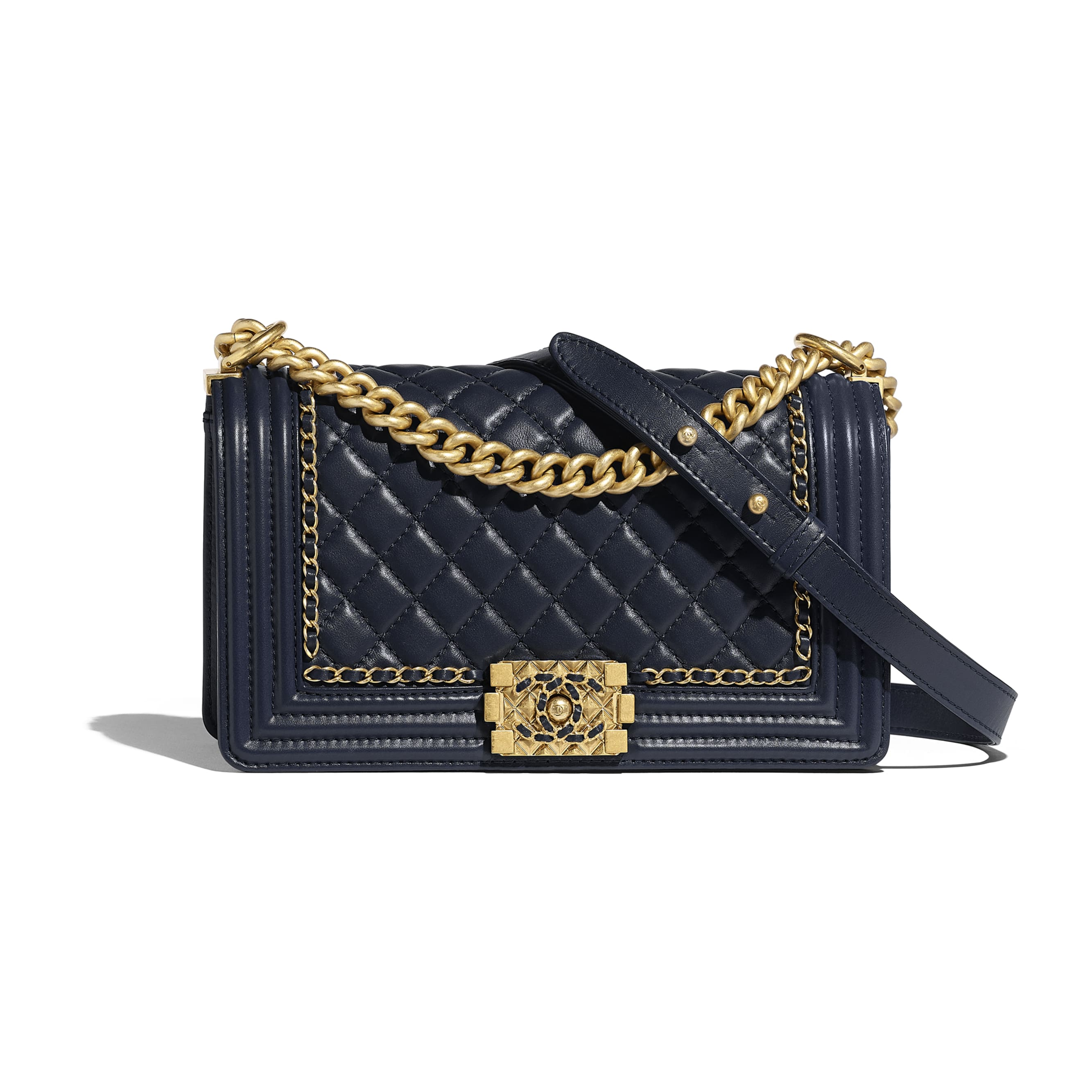 BOY CHANEL Handbag - Navy Blue - Calfskin & Gold-Tone Metal - Default view - see standard sized version