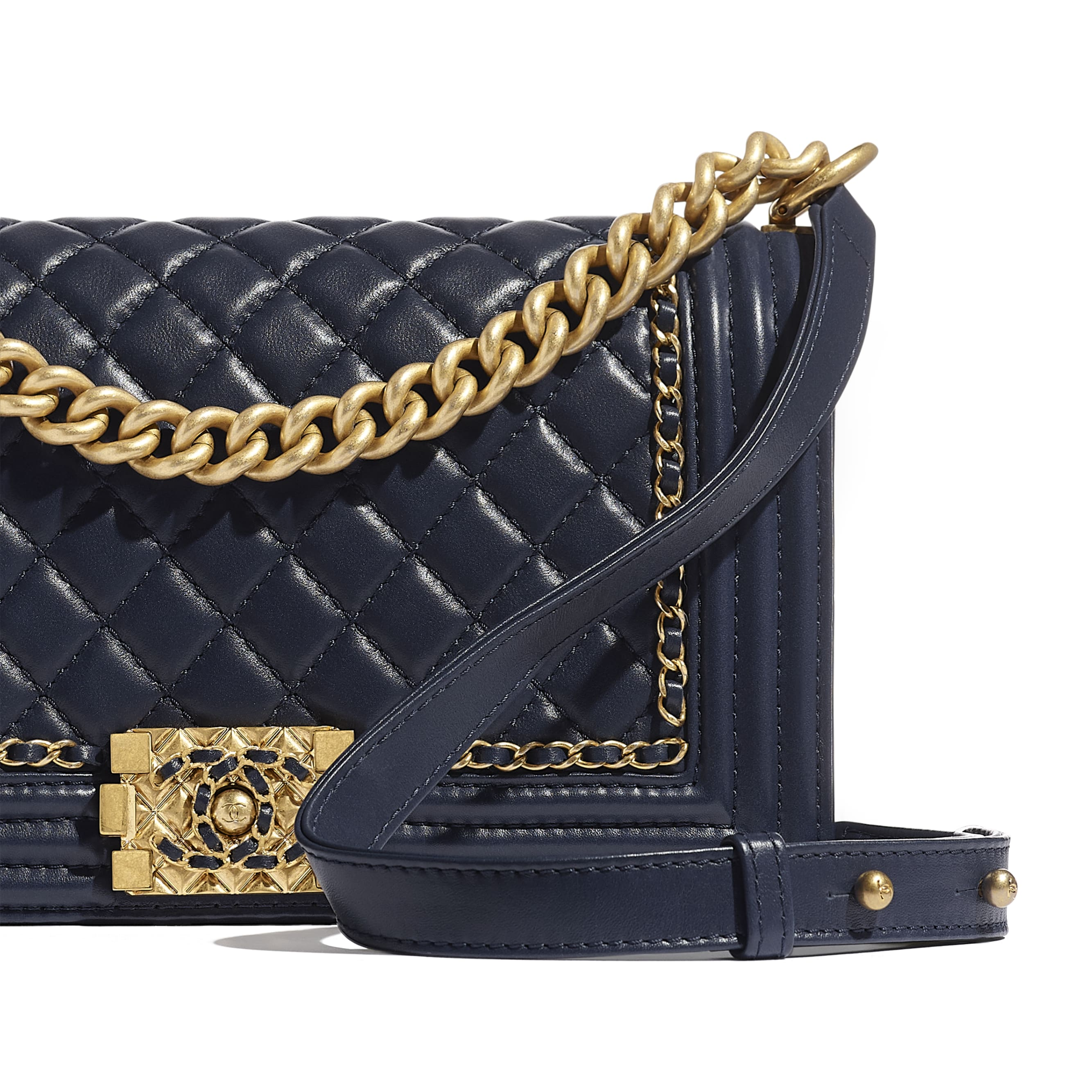 BOY CHANEL Handbag - Navy Blue - Calfskin & Gold-Tone Metal - Extra view - see standard sized version