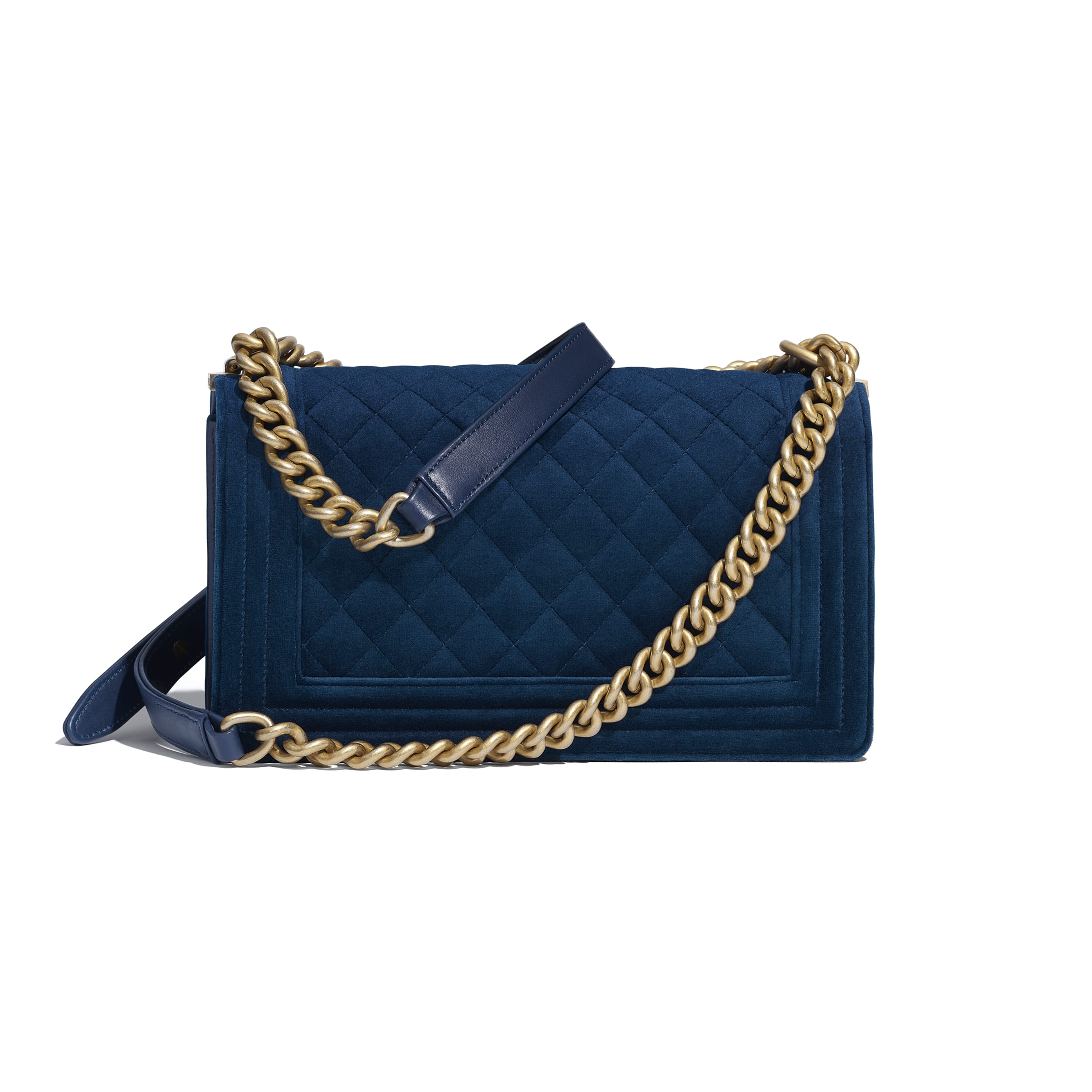 BOY CHANEL Handbag - Navy Blue - Velvet & Gold Metal - Alternative view - see standard sized version