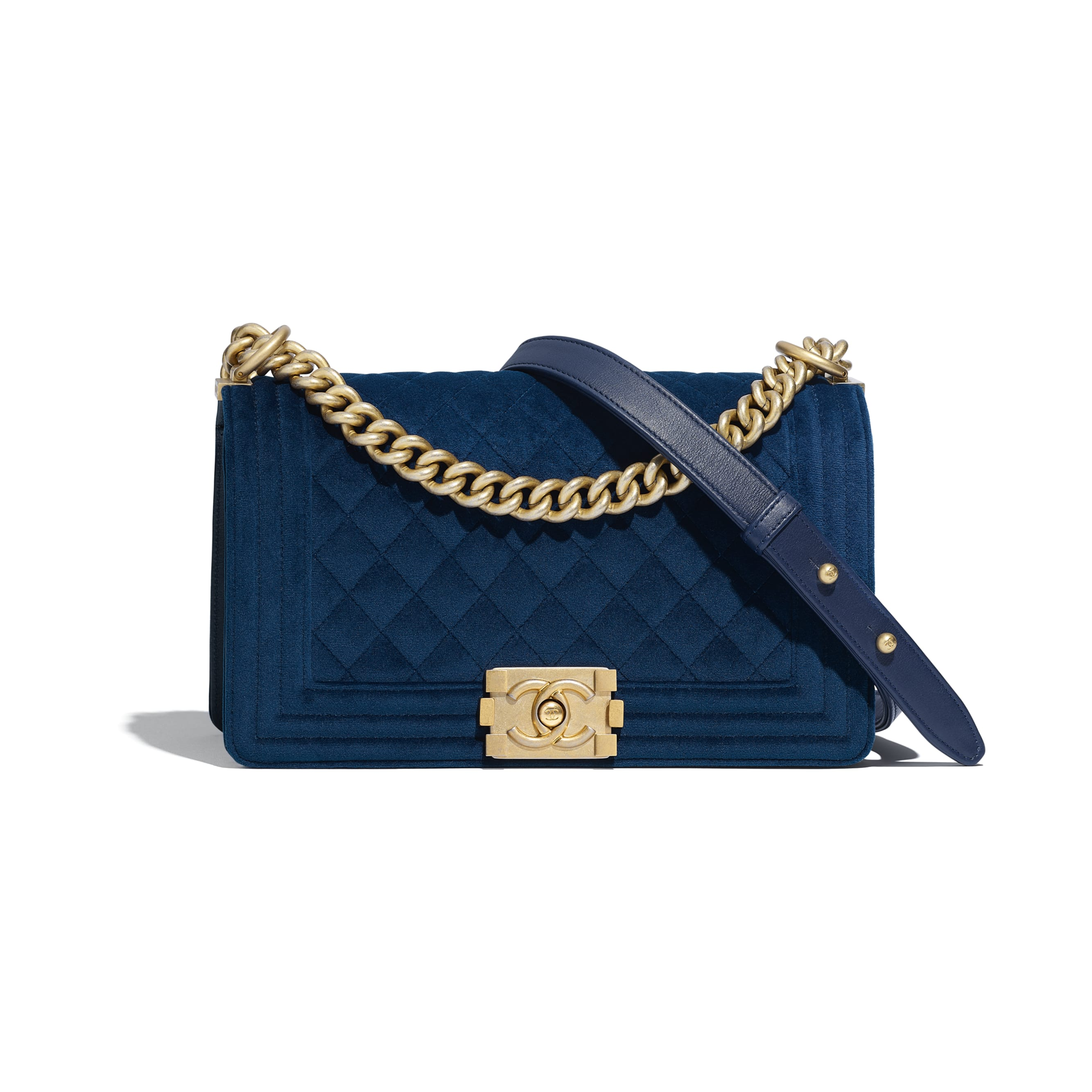 BOY CHANEL Handbag - Navy Blue - Velvet & Gold Metal - Default view - see standard sized version