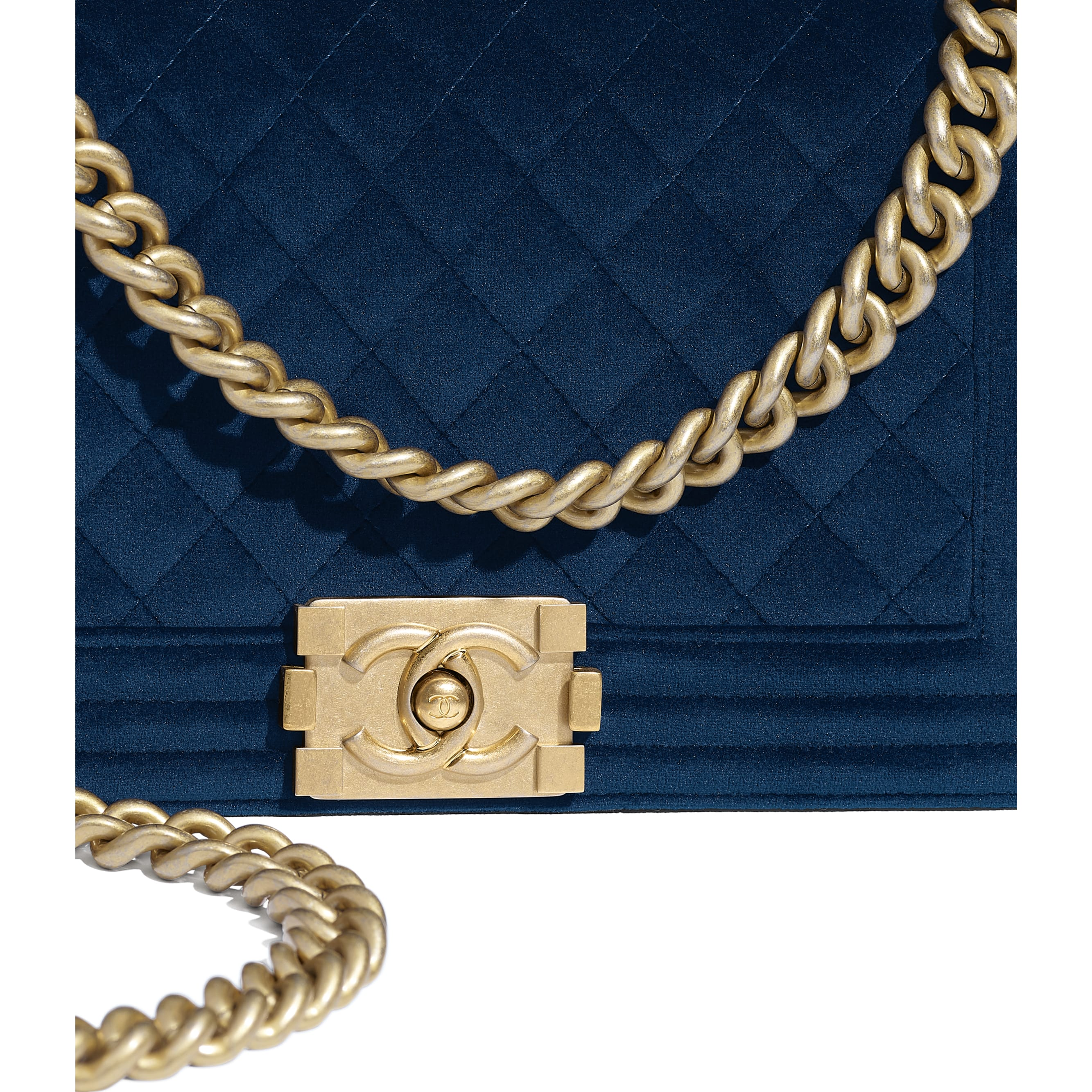BOY CHANEL Handbag - Navy Blue - Velvet & Gold Metal - Extra view - see standard sized version