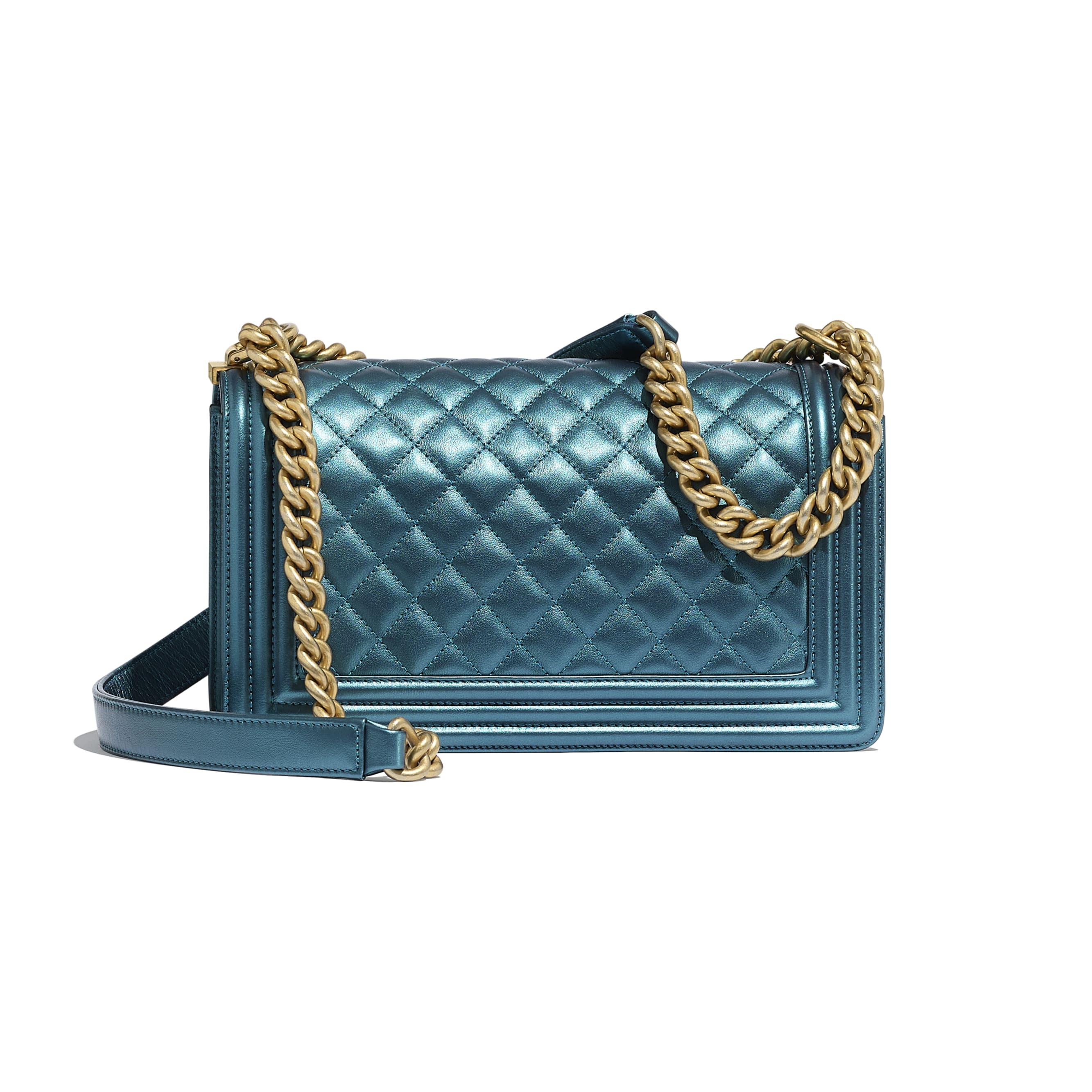 Sac BOY CHANEL - Bleu marine & blanc - Veau métallisé & métal doré - CHANEL - Vue alternative - voir la version taille standard