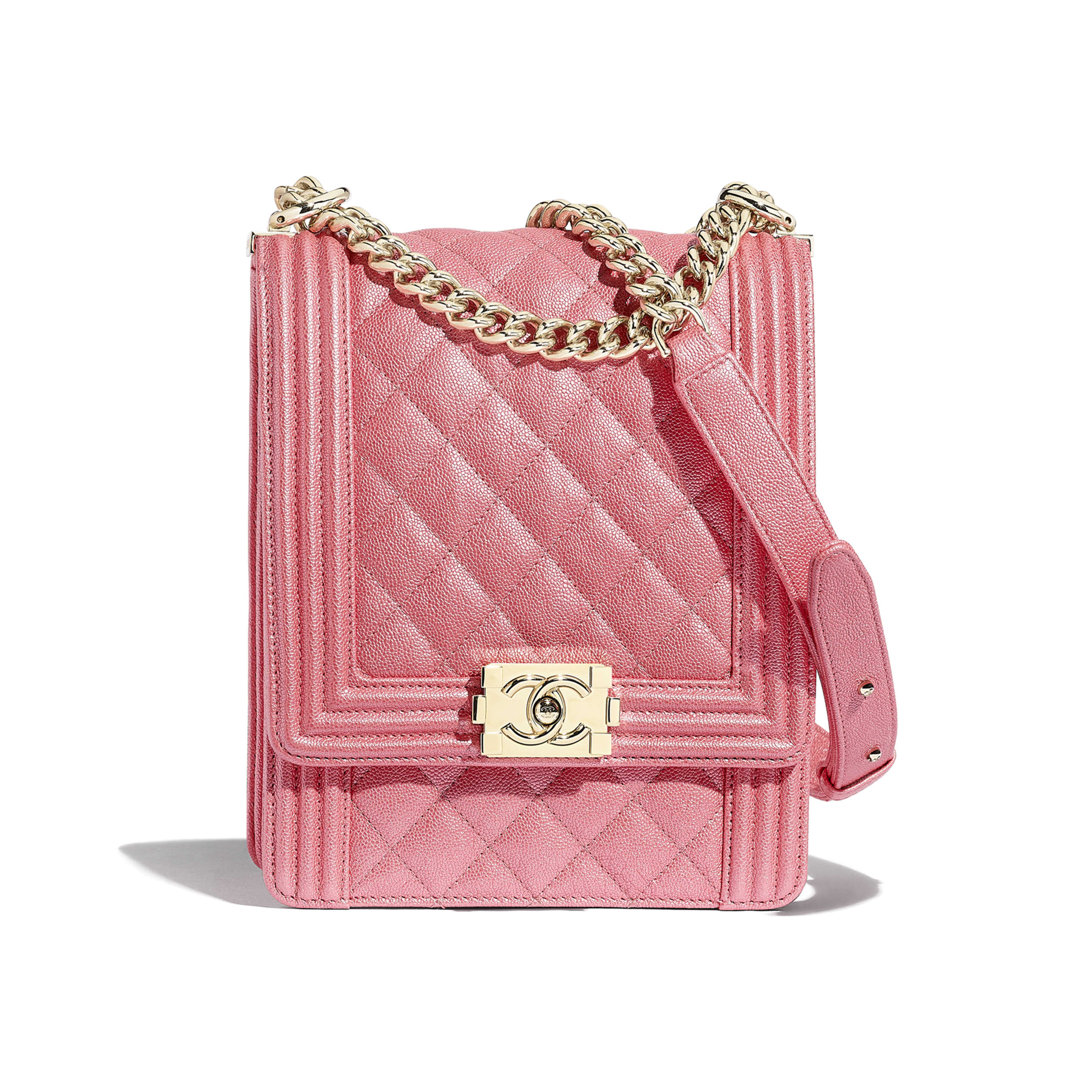 BOY CHANEL Handbag - Pink - Metallic Grained Calfskin & Gold-Tone Metal - Default view - see standard sized version