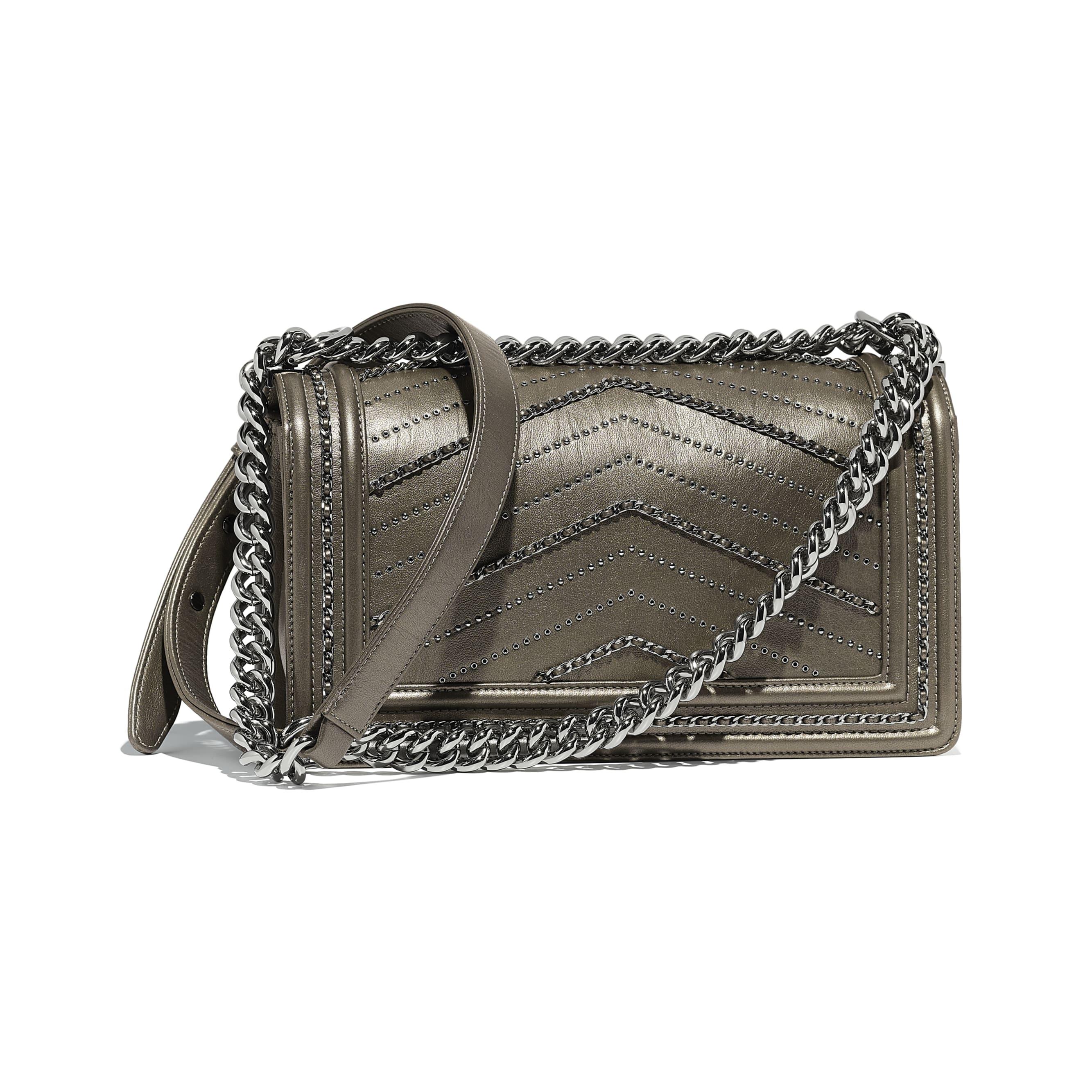 BOY CHANEL Handbag - Silver - Metallic Crumpled Calfskin & Ruthenium-Finish Metal - Alternative view - see standard sized version
