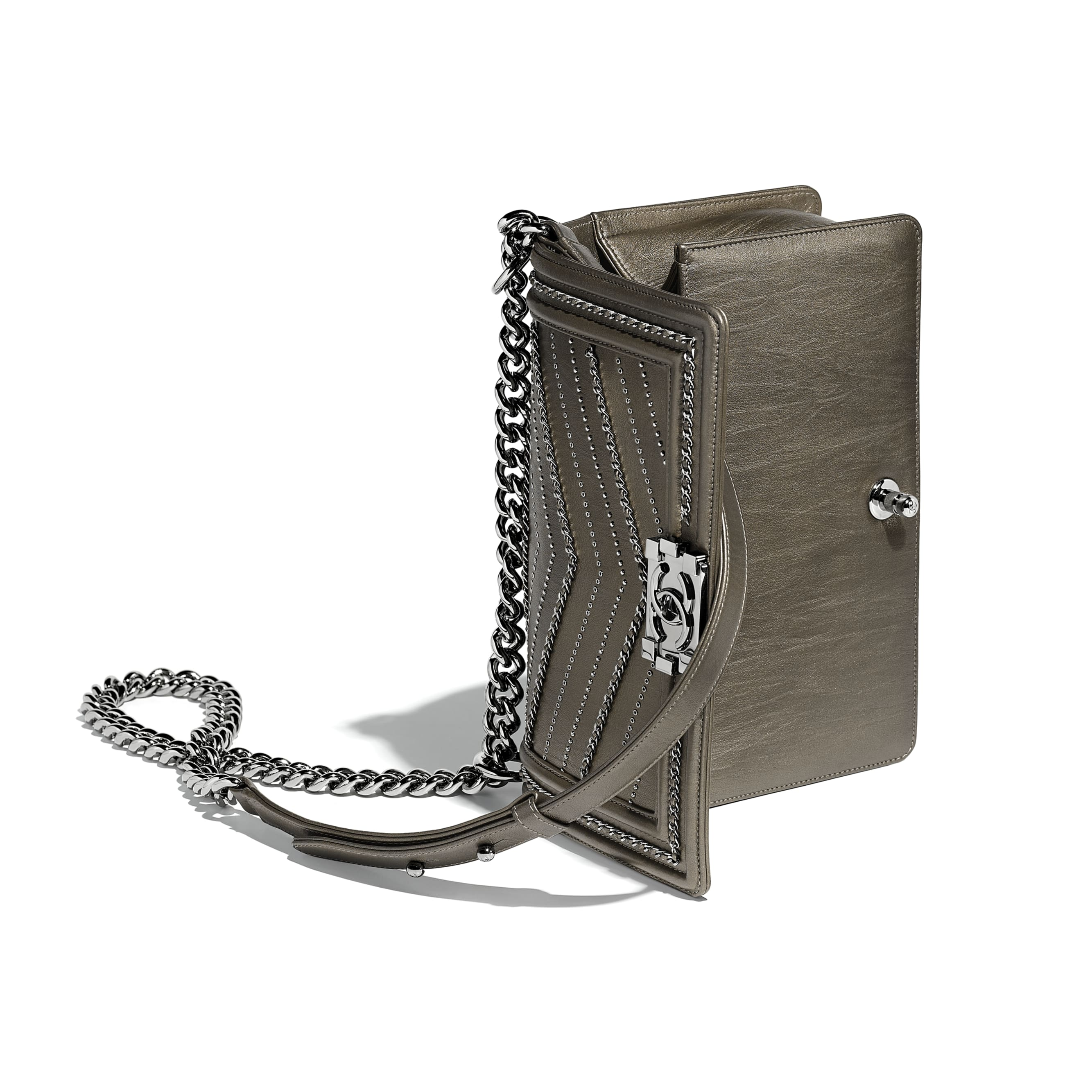 BOY CHANEL Handbag - Silver - Metallic Crumpled Calfskin & Ruthenium-Finish Metal - Other view - see standard sized version