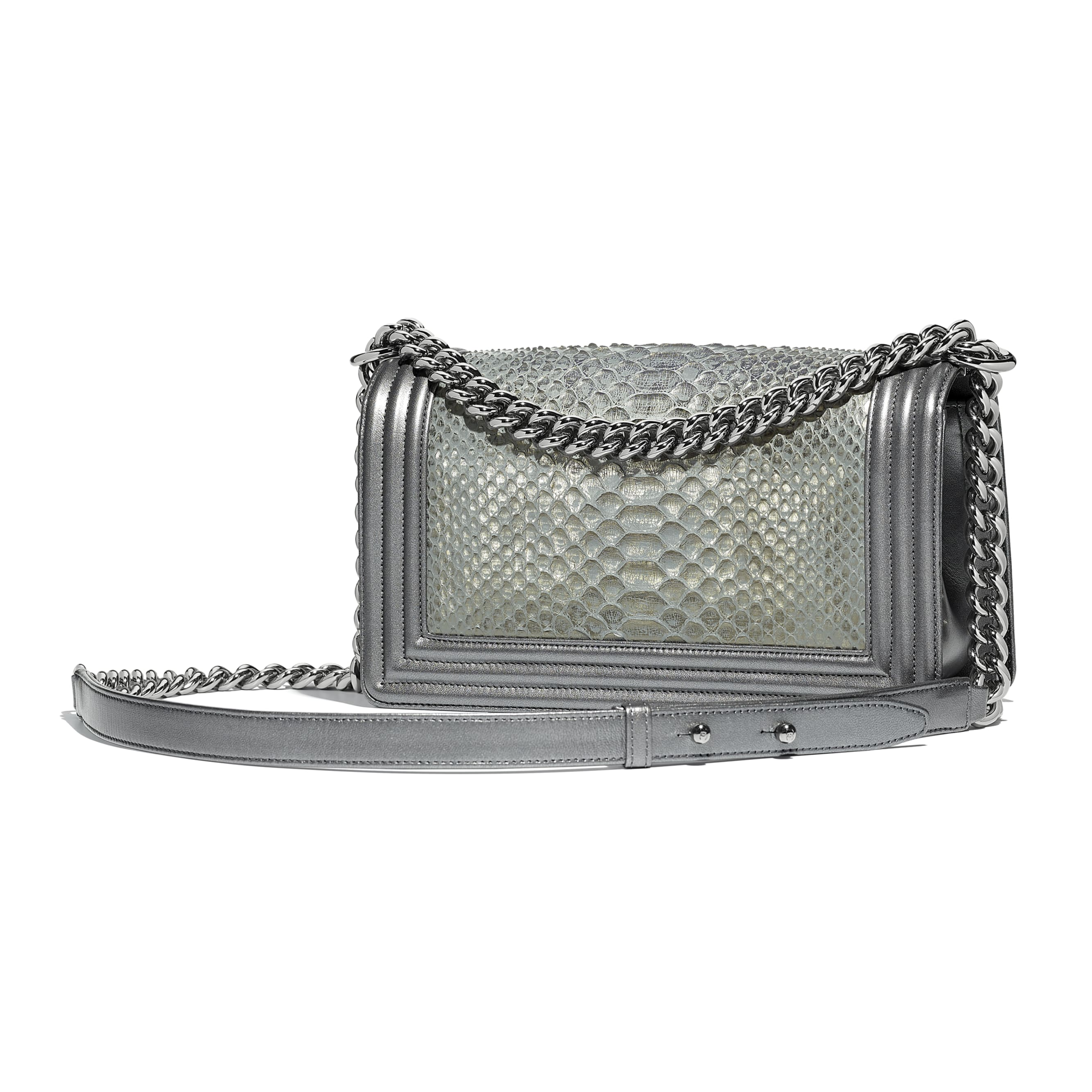 BOY CHANEL Handbag - Silver - Python, Metallic Lambskin & Ruthenium-Finish Metal - Alternative view - see standard sized version