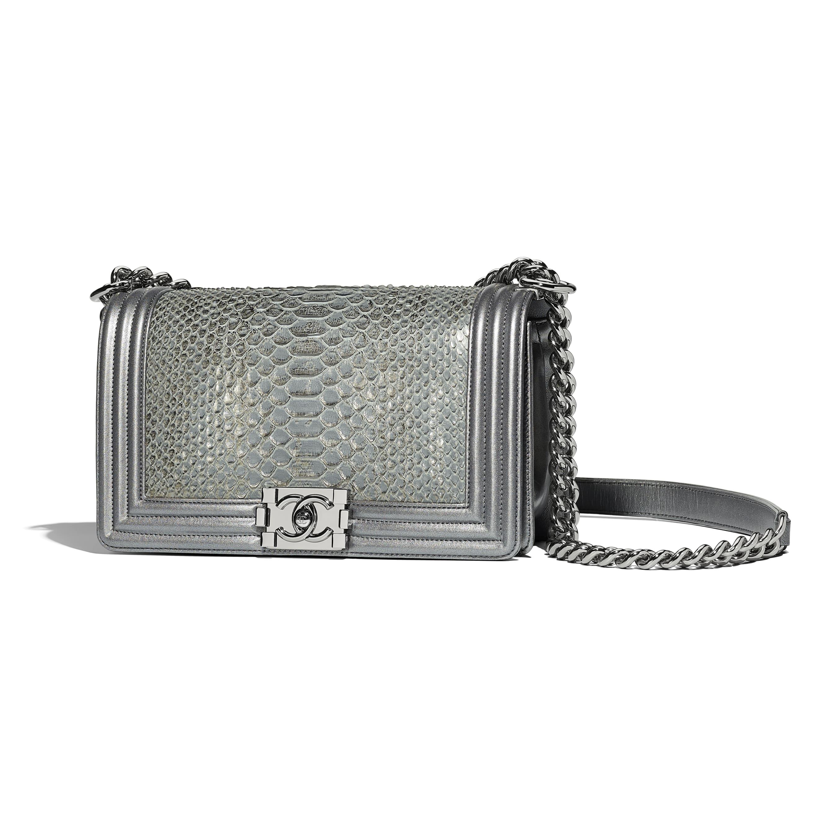 BOY CHANEL Handbag - Silver - Python, Metallic Lambskin & Ruthenium-Finish Metal - Default view - see standard sized version