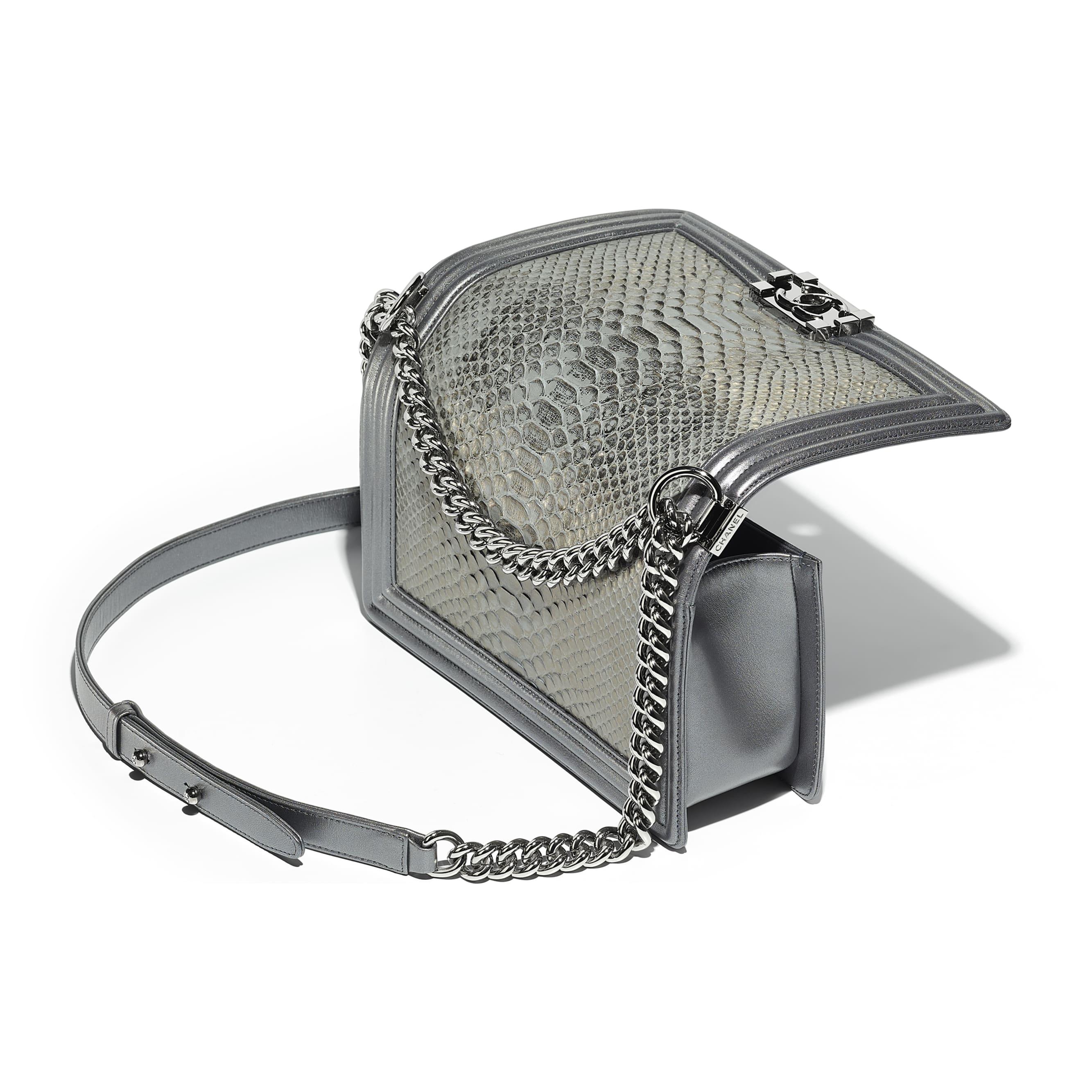 BOY CHANEL Handbag - Silver - Python, Metallic Lambskin & Ruthenium-Finish Metal - Other view - see standard sized version