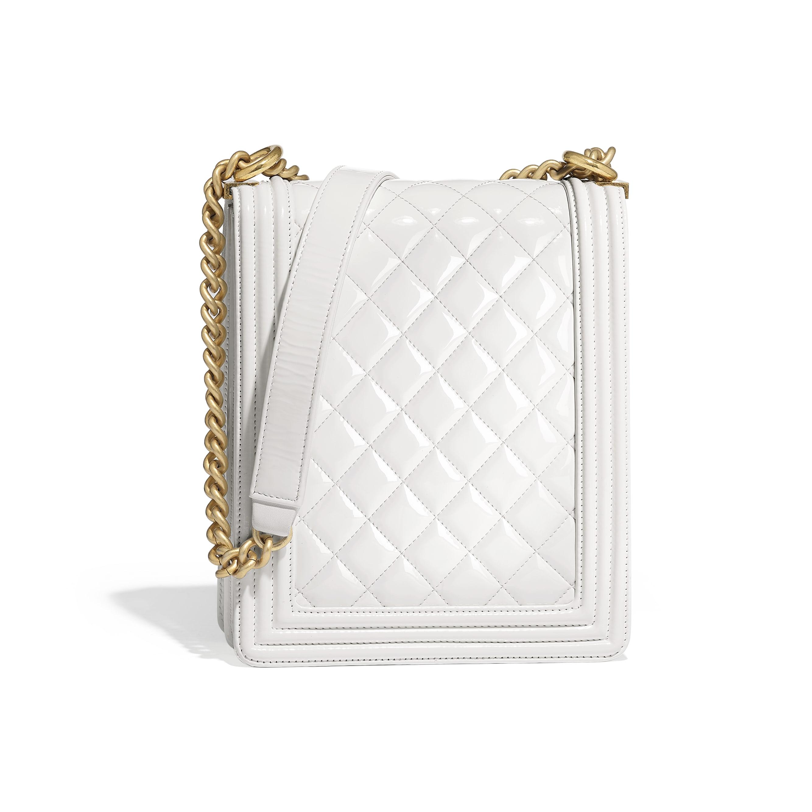 BOY CHANEL Handbag - White - Patent Calfskin & Gold-Tone Metal - Alternative view - see standard sized version