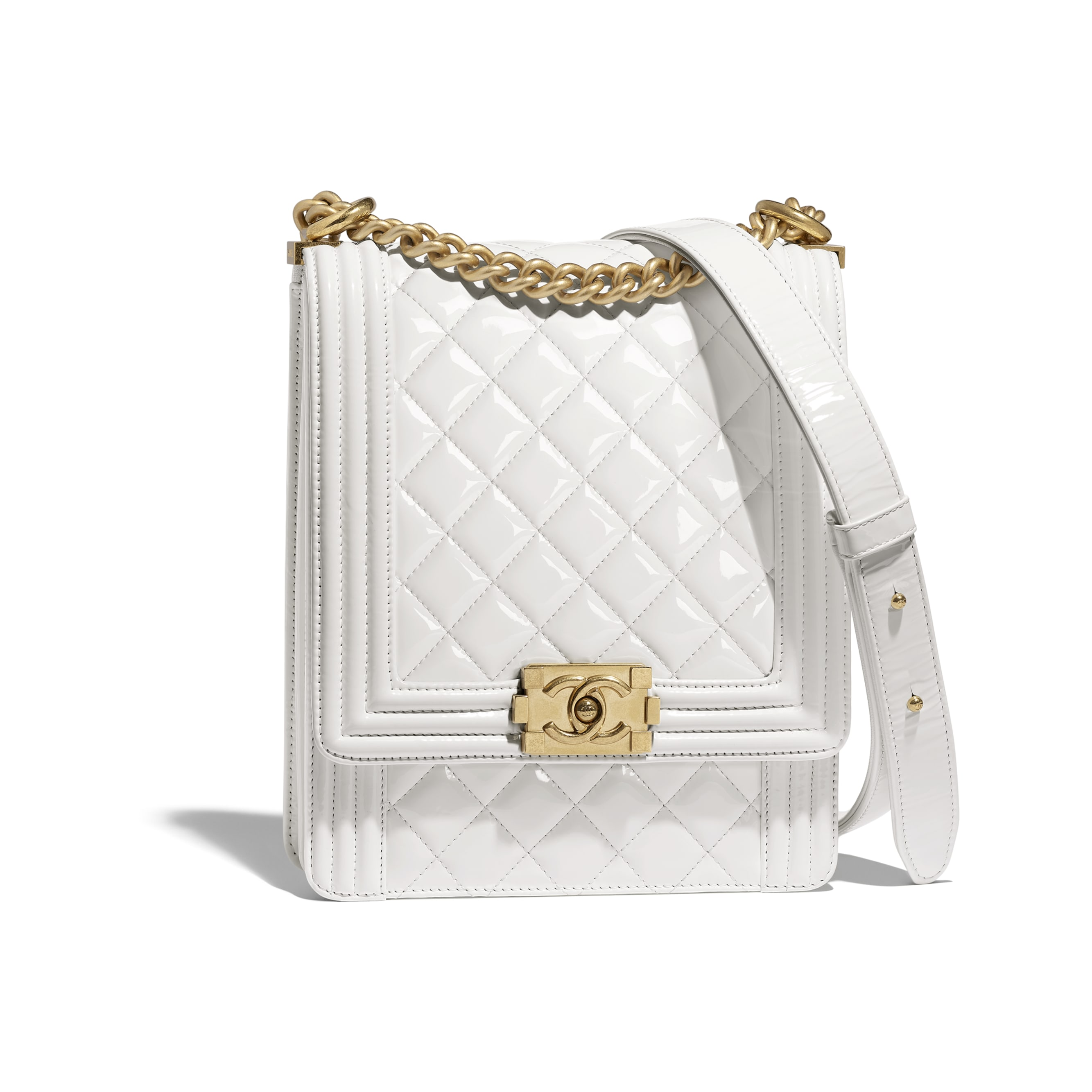 133c968acb73 ... BOY CHANEL Handbag - White - Patent Calfskin   Gold-Tone Metal -  Default view