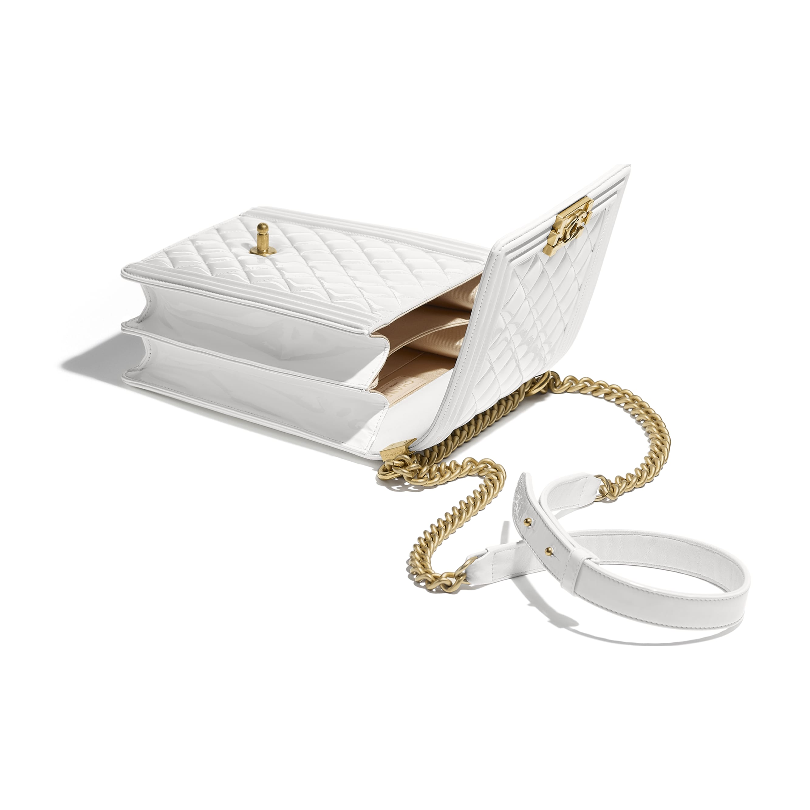 BOY CHANEL Handbag - White - Patent Calfskin & Gold-Tone Metal - Other view - see standard sized version