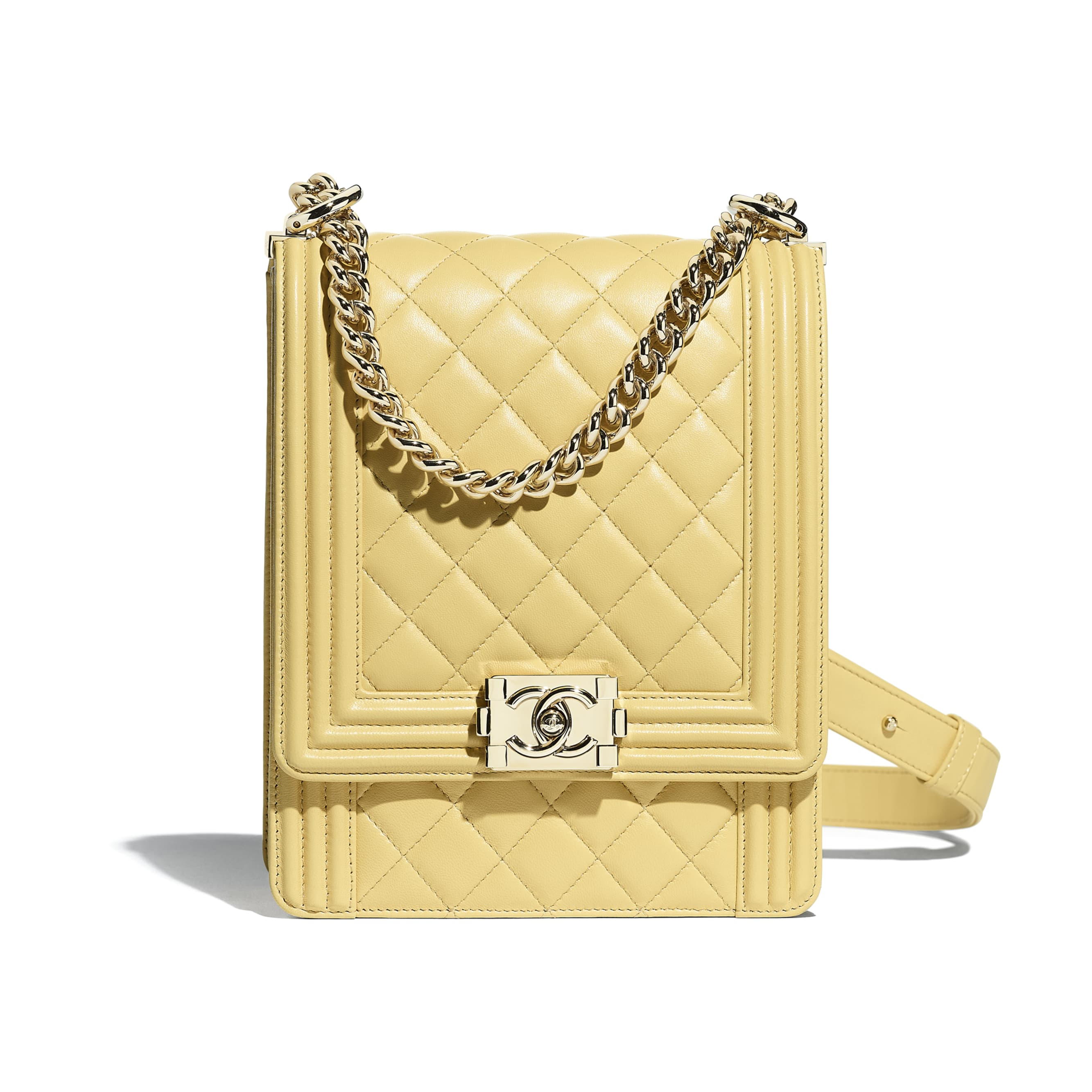 BOY CHANEL Handbag - Yellow - Calfskin & Gold-Tone Metal - Default view - see standard sized version