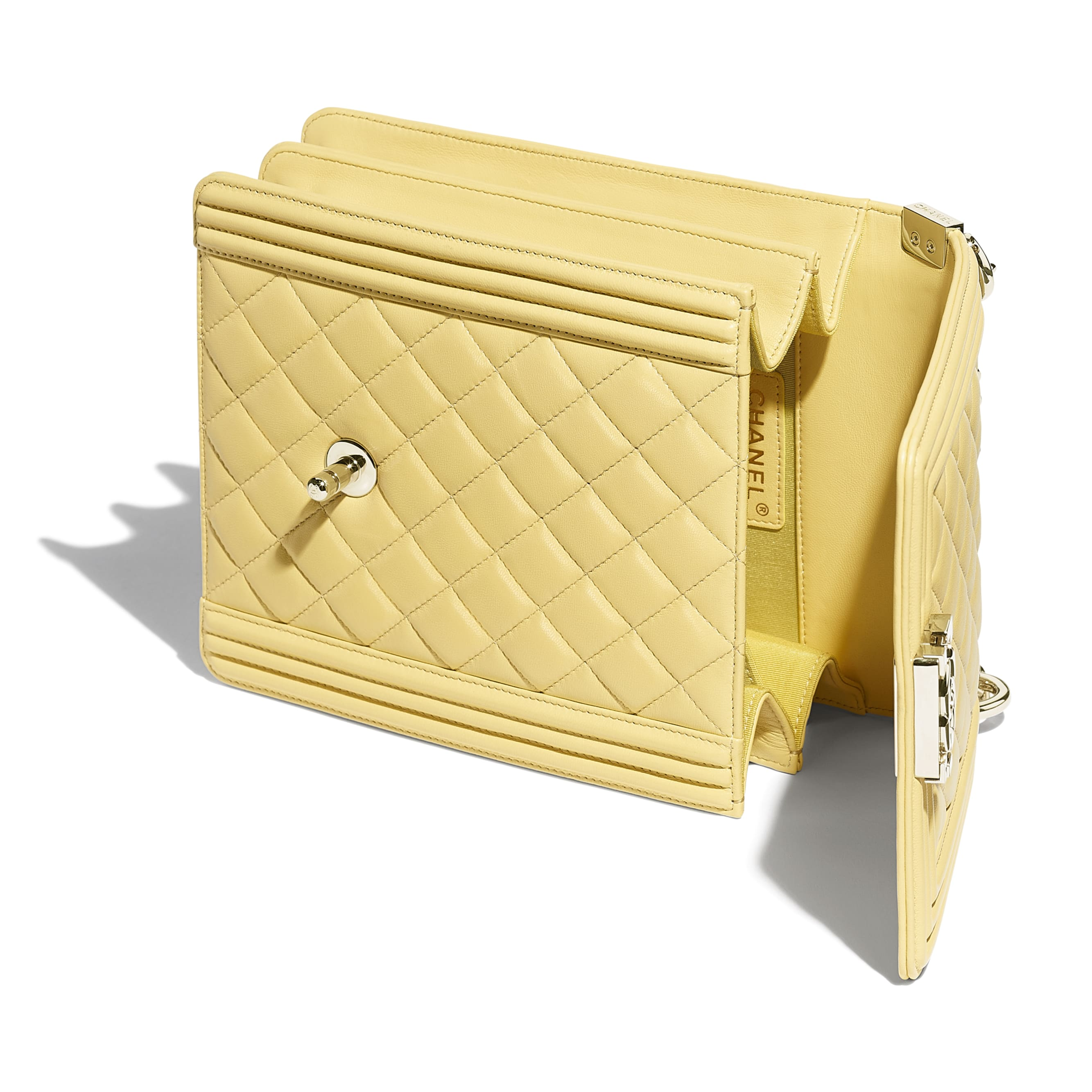 BOY CHANEL Handbag - Yellow - Calfskin & Gold-Tone Metal - Other view - see standard sized version