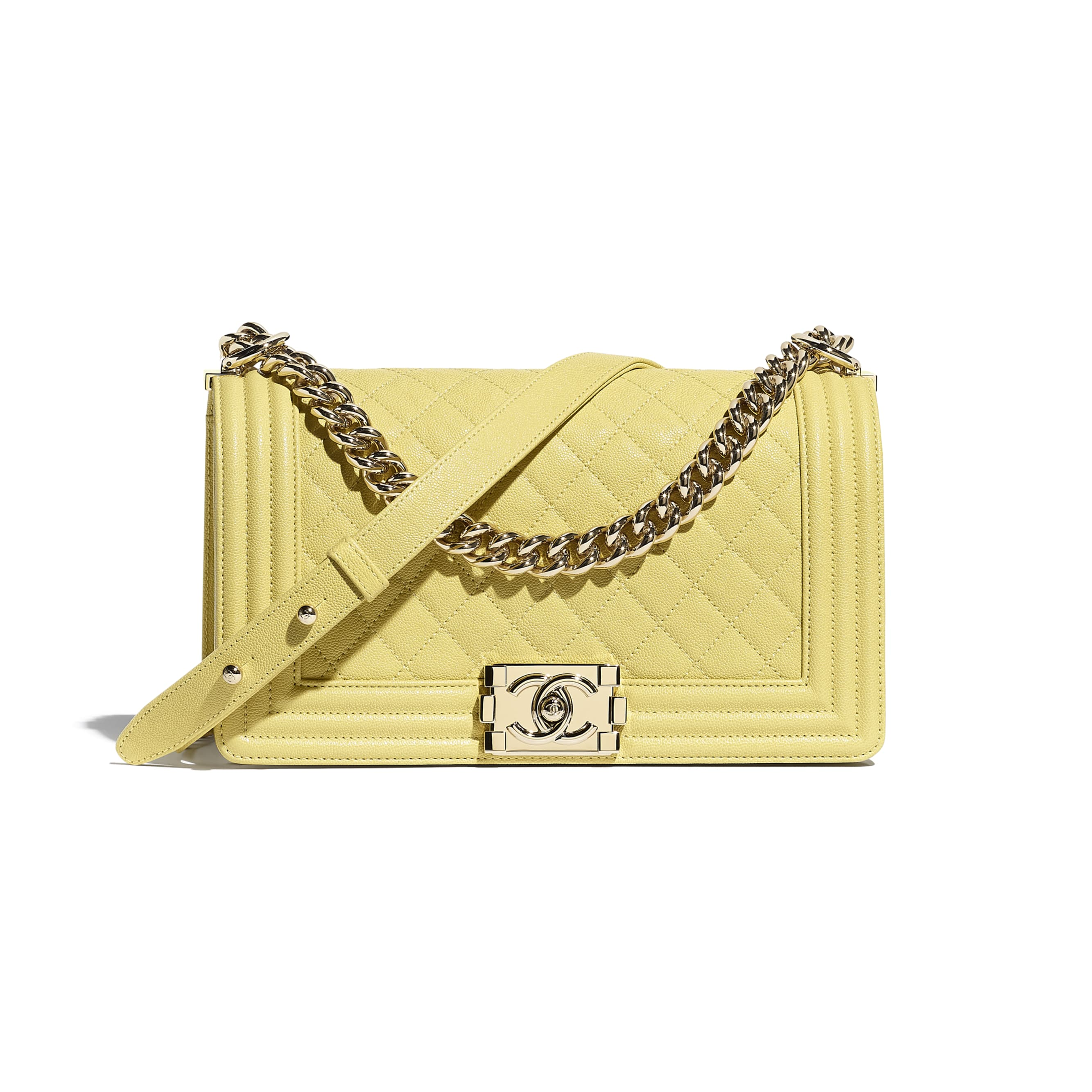 BOY CHANEL Handbag - Yellow - Grained Calfskin & Gold-Tone Metal - CHANEL - Default view - see standard sized version