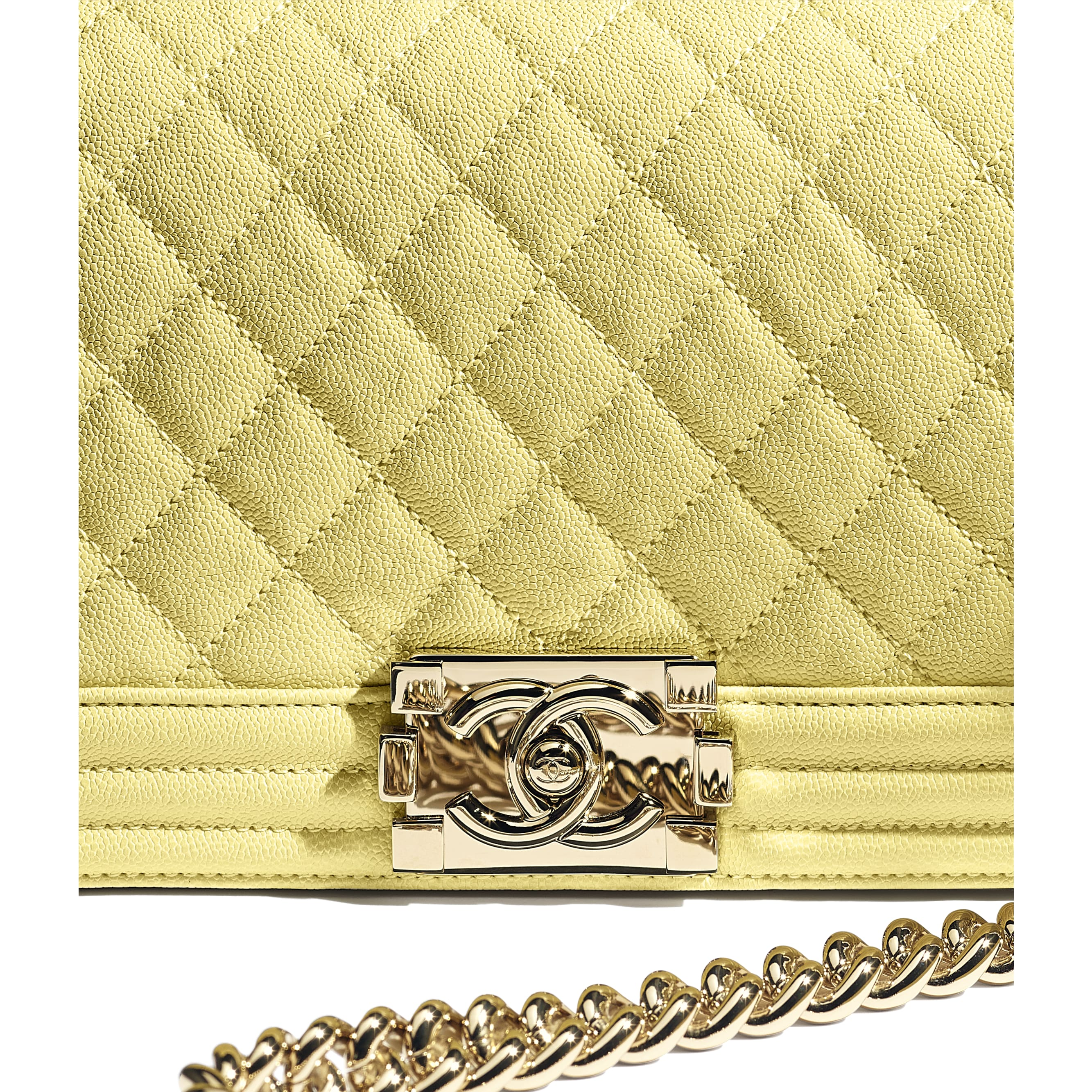 BOY CHANEL Handbag - Yellow - Grained Calfskin & Gold-Tone Metal - CHANEL - Extra view - see standard sized version
