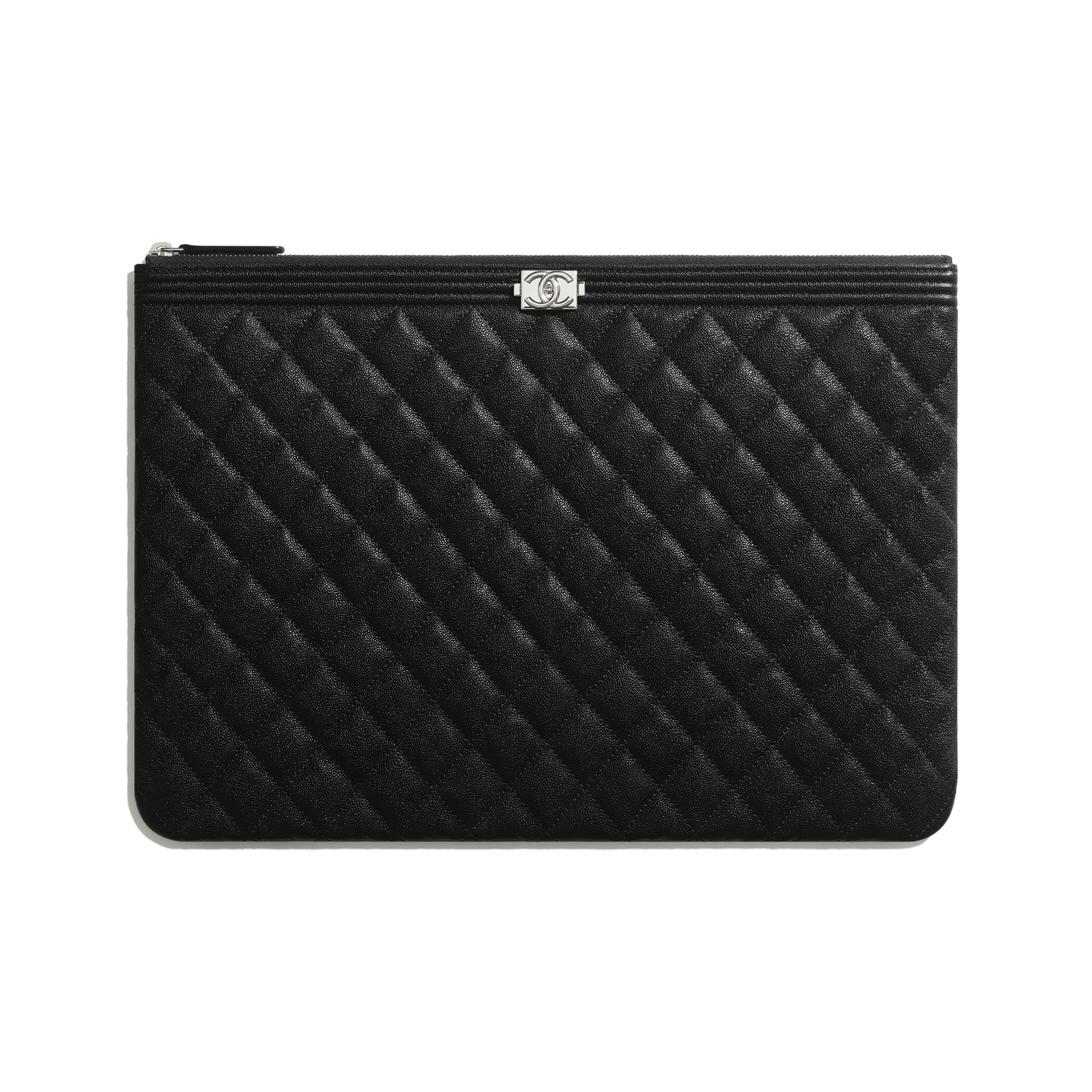BOY CHANEL Large Pouch - Black - Grained Calfskin & Silver-Tone Metal - CHANEL - Default view - see standard sized version