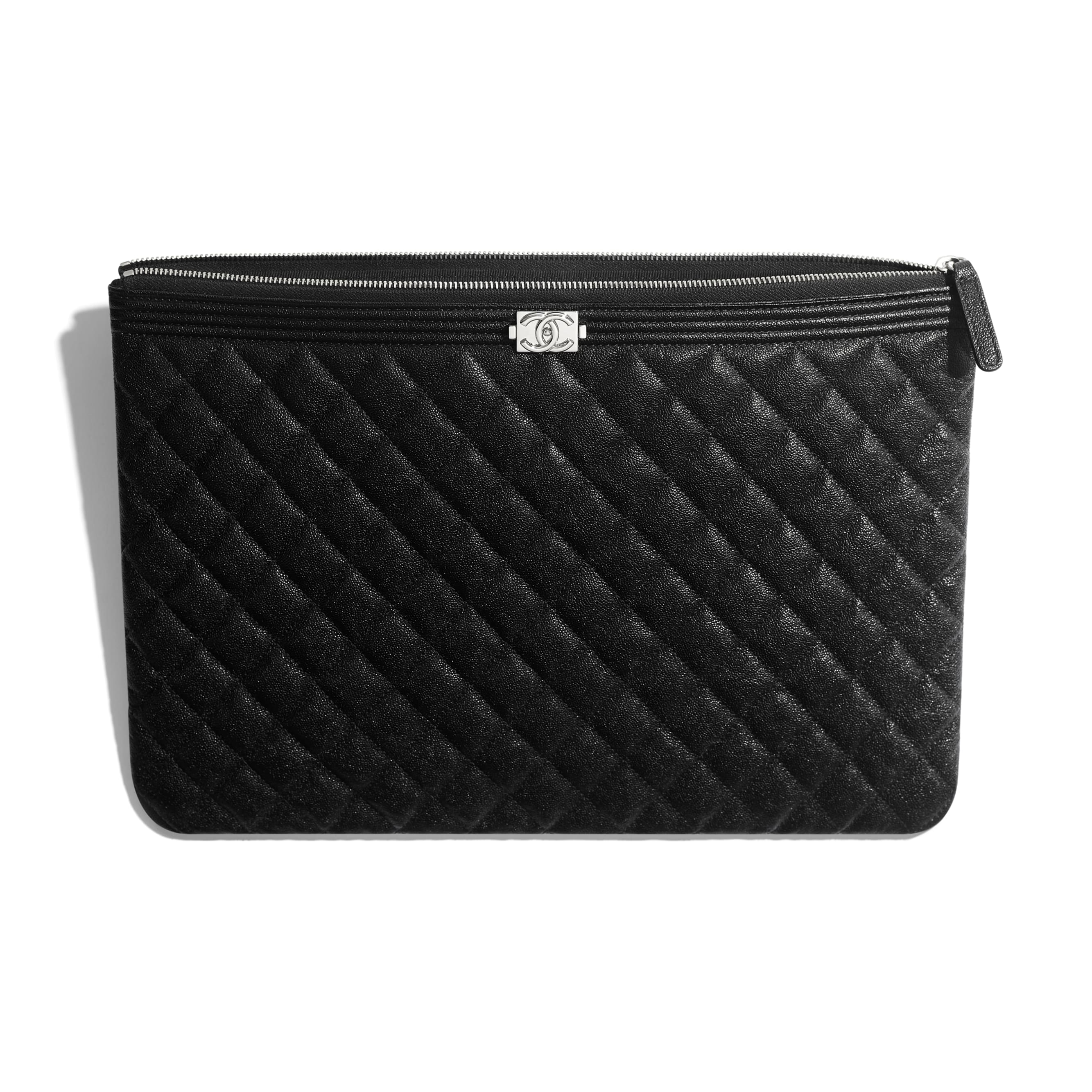 BOY CHANEL Large Pouch - Black - Grained Calfskin & Silver-Tone Metal - CHANEL - Other view - see standard sized version