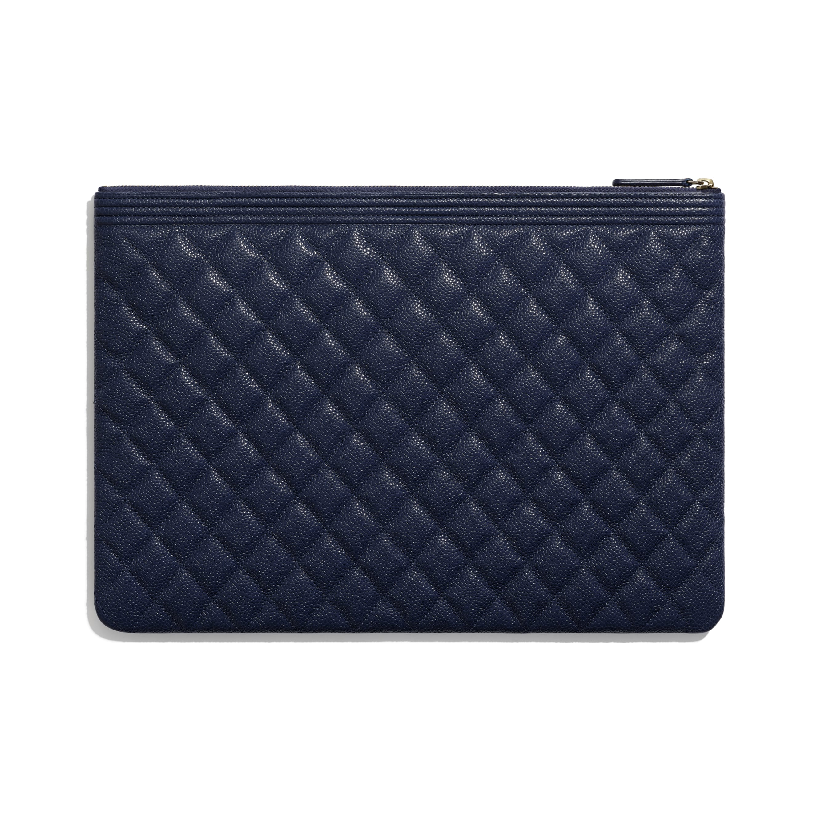 BOY CHANEL Large Pouch - Navy Blue - Grained Shiny Calfskin & Gold-Tone Metal - Alternative view - see standard sized version