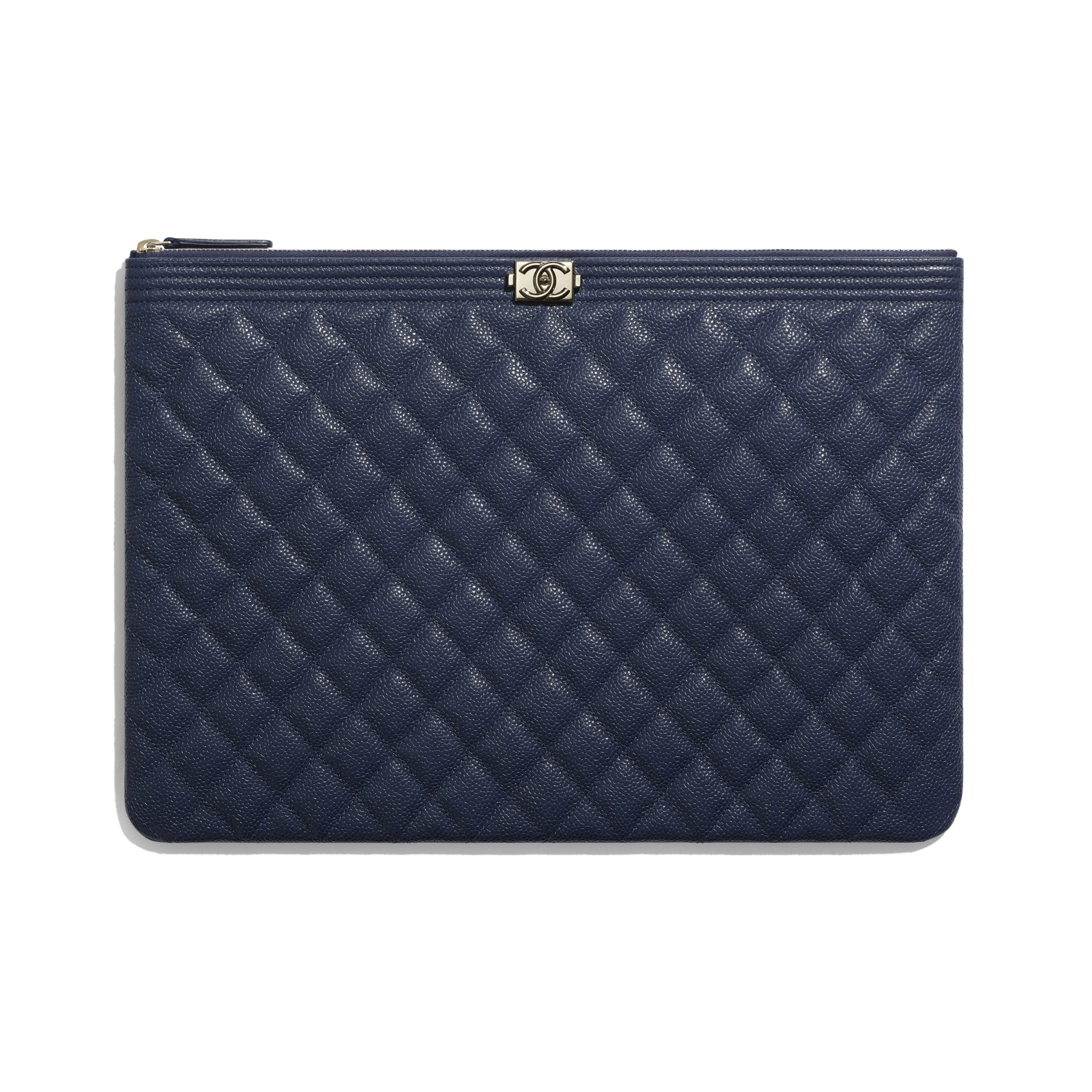 BOY CHANEL Large Pouch - Navy Blue - Grained Shiny Calfskin & Gold-Tone Metal - Default view - see standard sized version
