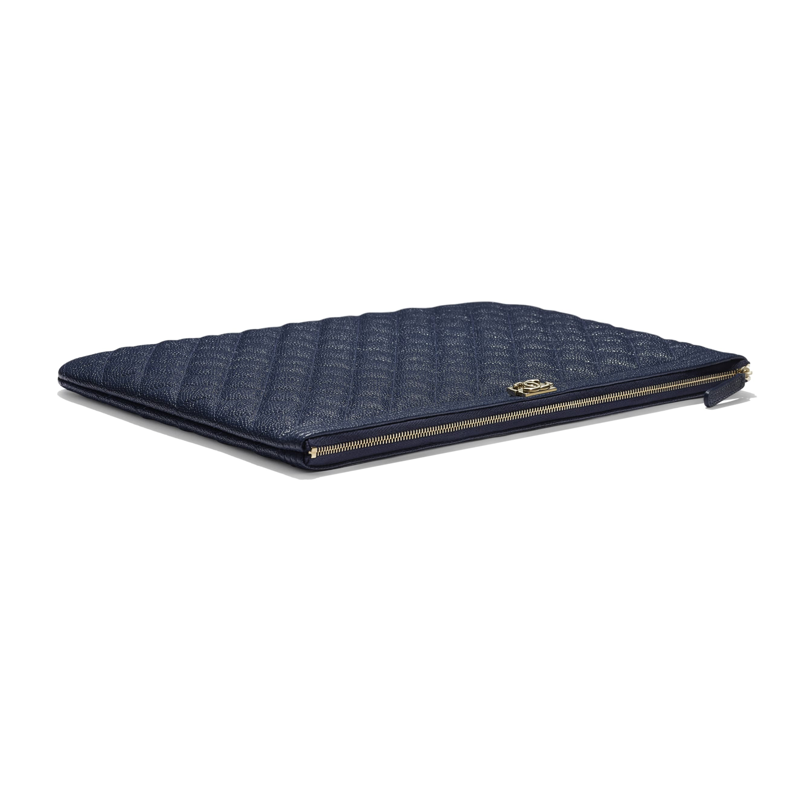BOY CHANEL Large Pouch - Navy Blue - Grained Shiny Calfskin & Gold-Tone Metal - CHANEL - Extra view - see standard sized version