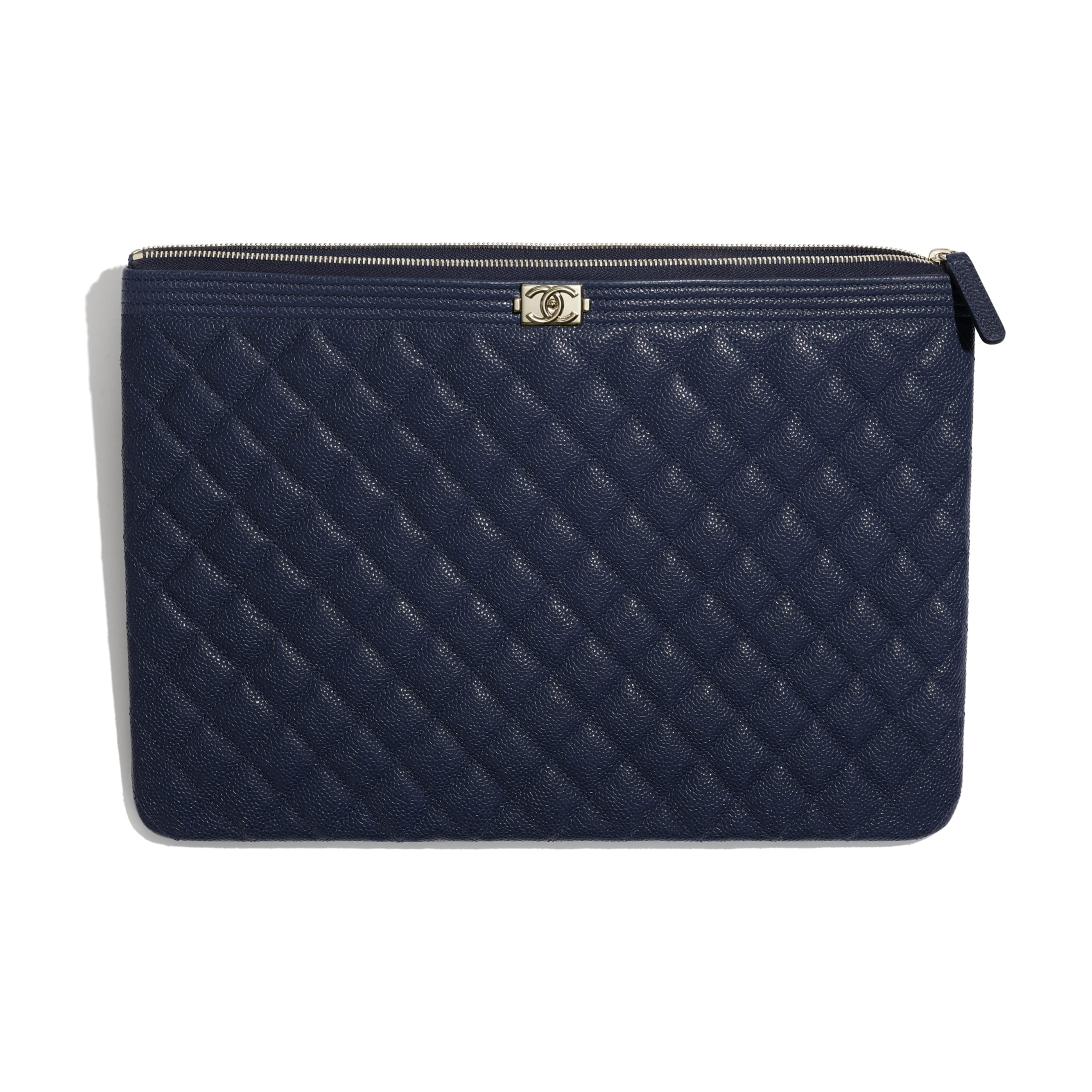 BOY CHANEL Large Pouch - Navy Blue - Grained Shiny Calfskin & Gold-Tone Metal - CHANEL - Other view - see standard sized version