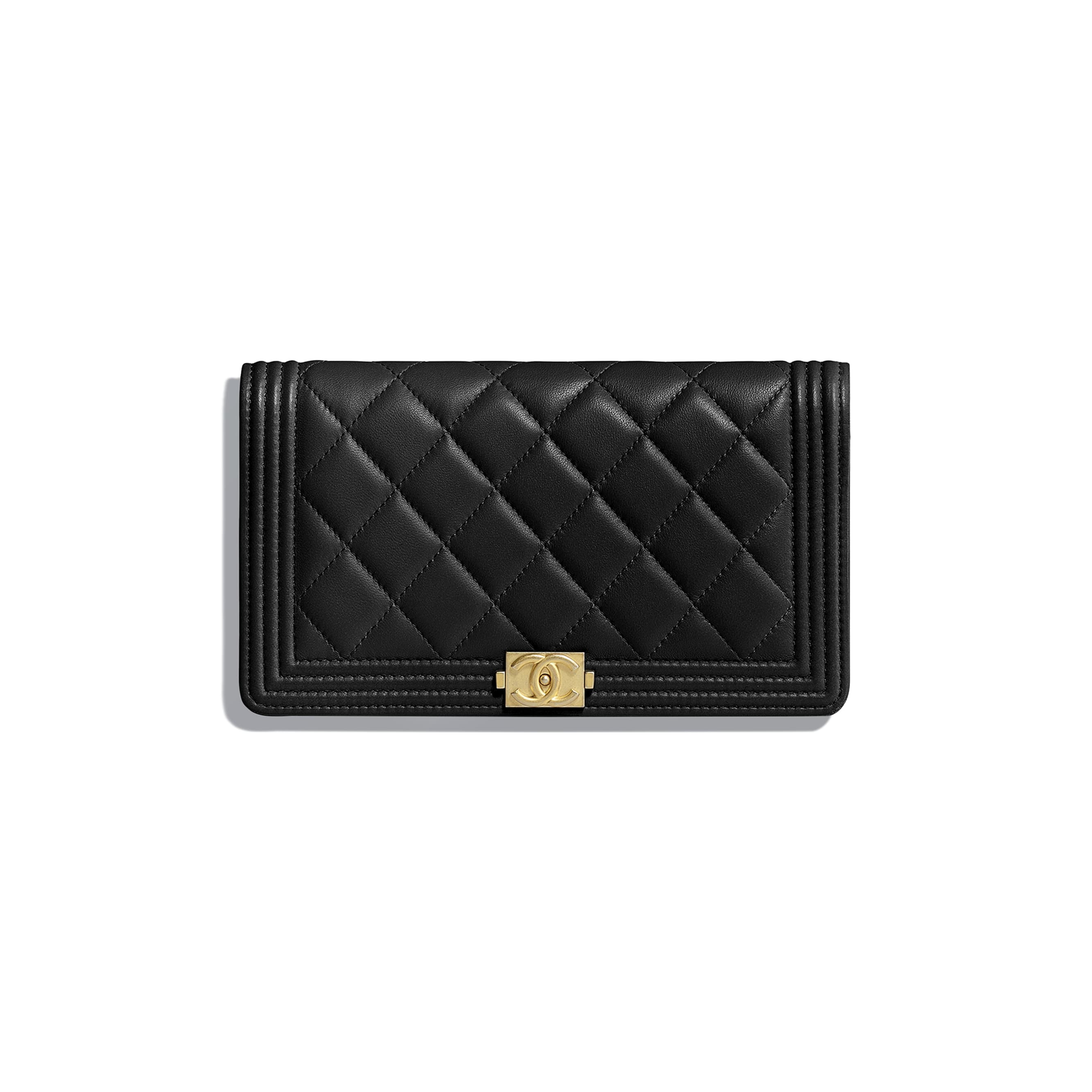 BOY CHANEL Long Flap Wallet - Black - Lambskin - Default view - see standard sized version