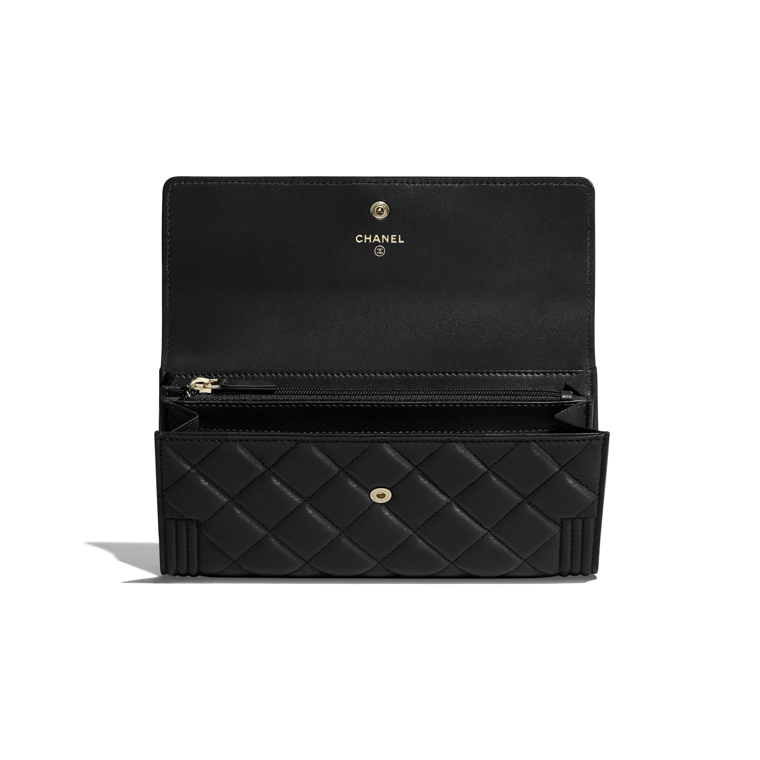 BOY CHANEL Long Flap Wallet - Black - Lambskin - CHANEL - Other view - see standard sized version