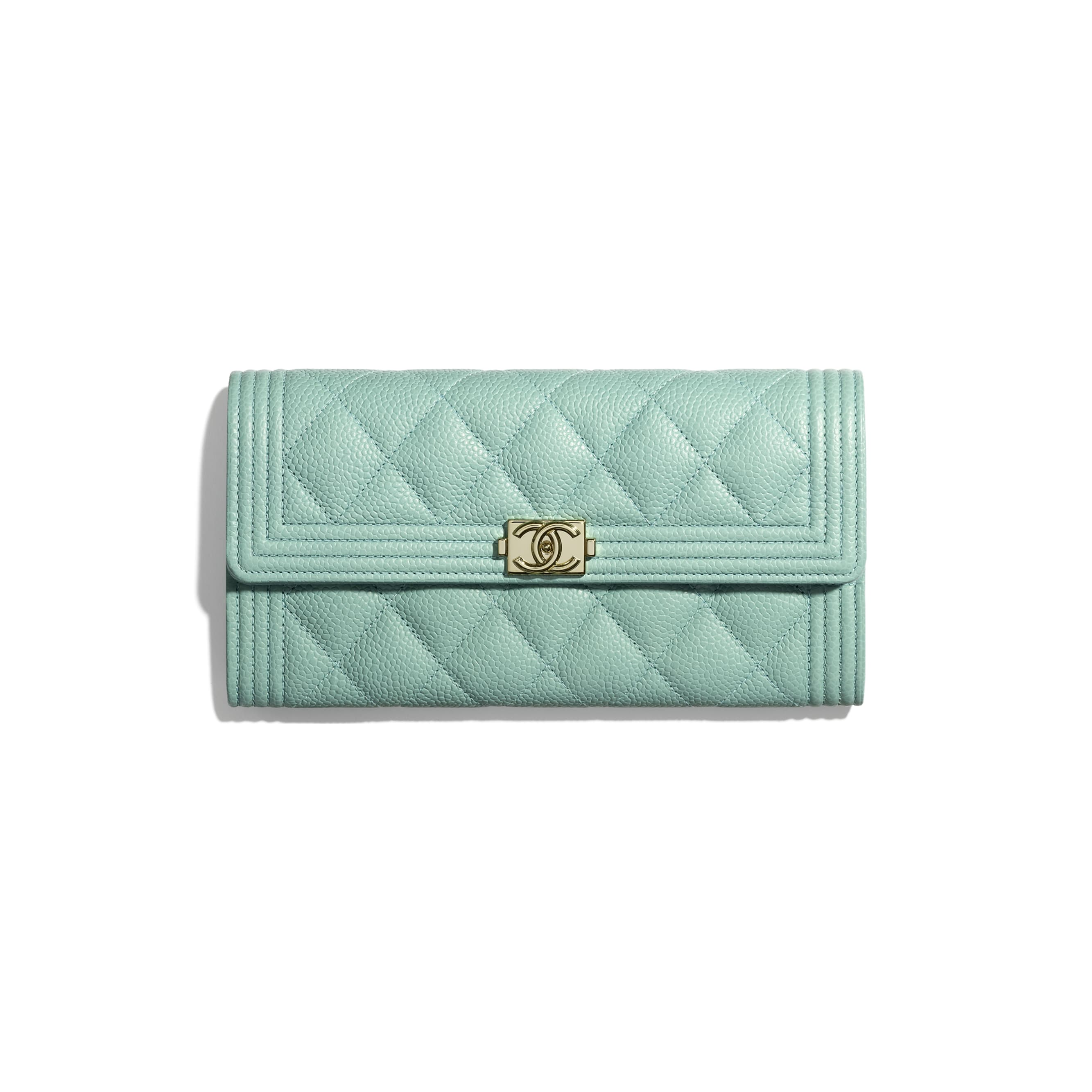 BOY CHANEL Long Flap Wallet - Blue - Grained Calfskin & Gold-Tone Metal - Default view - see standard sized version