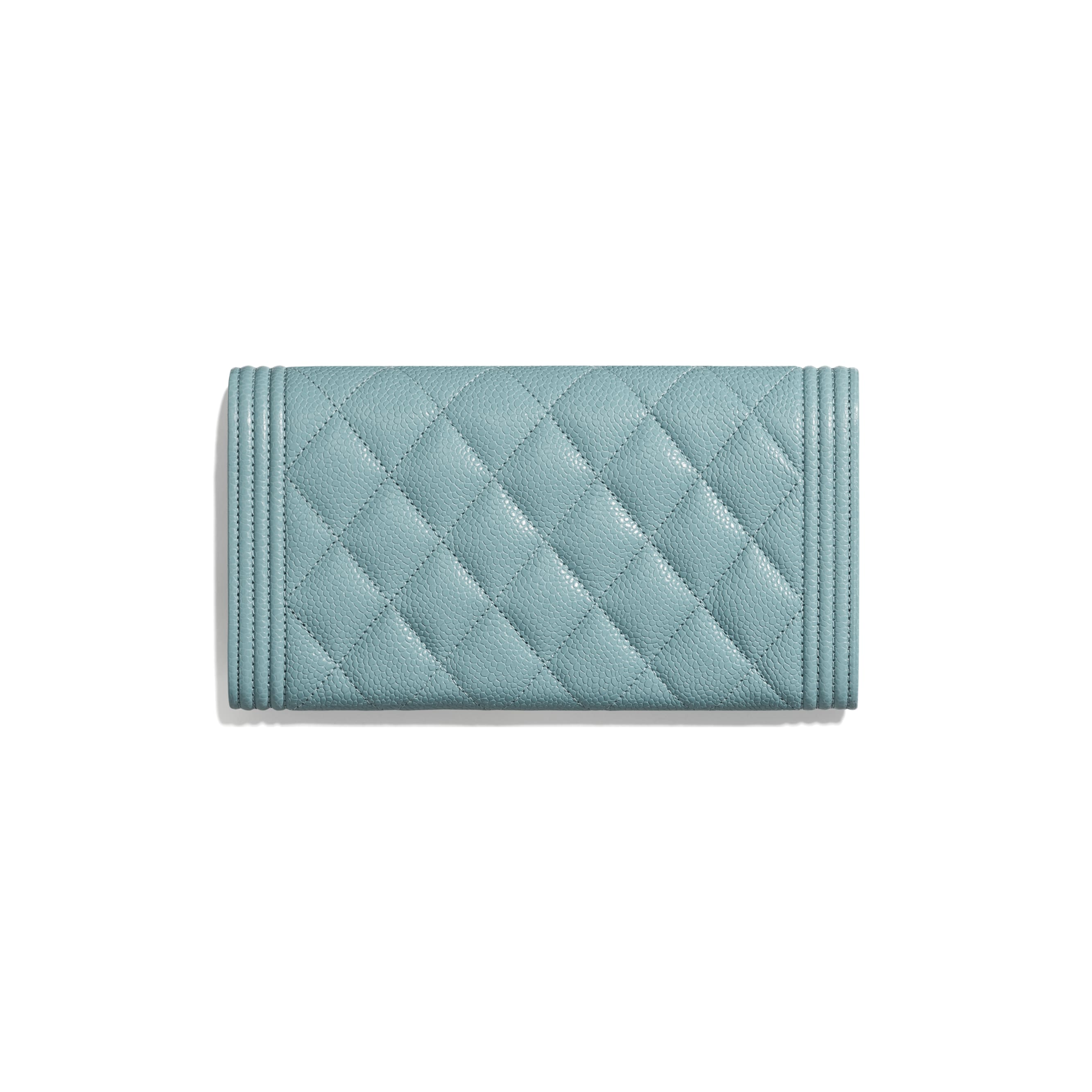 BOY CHANEL Long Flap Wallet - Blue - Grained Shiny Calfskin & Gold-Tone Metal - Alternative view - see standard sized version