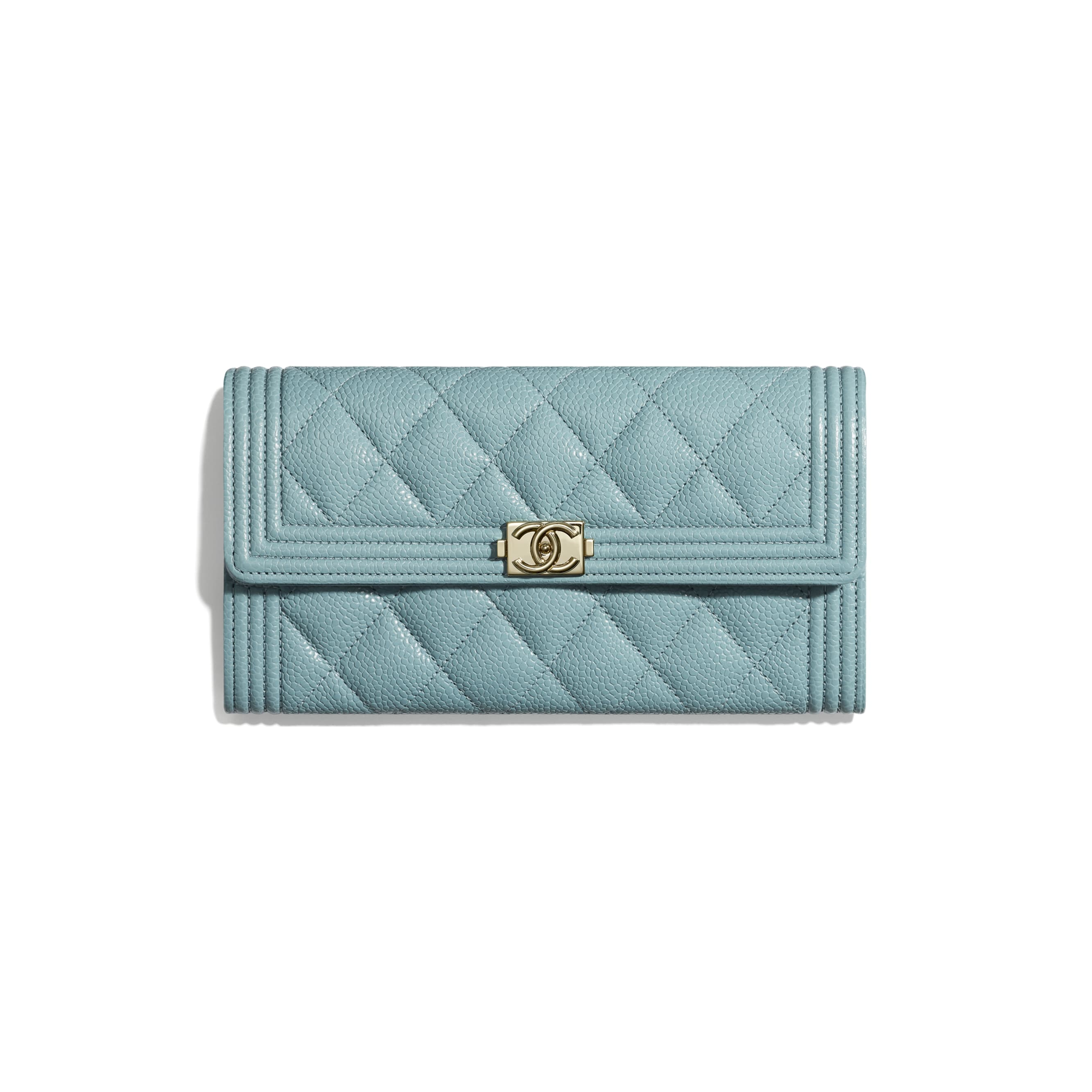 BOY CHANEL Long Flap Wallet - Blue - Grained Shiny Calfskin & Gold-Tone Metal - Default view - see standard sized version