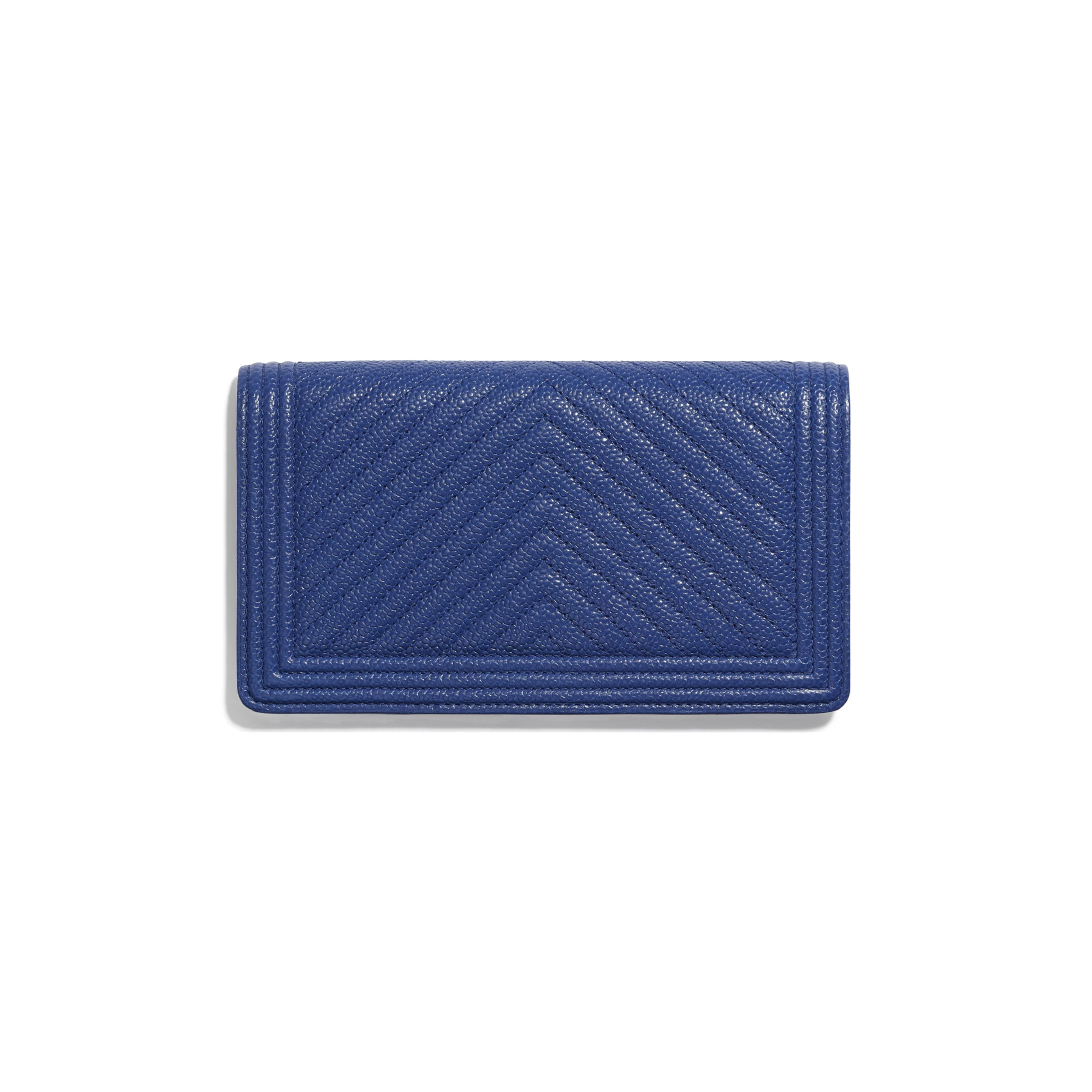BOY CHANEL Long Flap Wallet - Dark Blue - Shiny Grained Calfskin & Silver-Tone Metal - CHANEL - Alternative view - see standard sized version