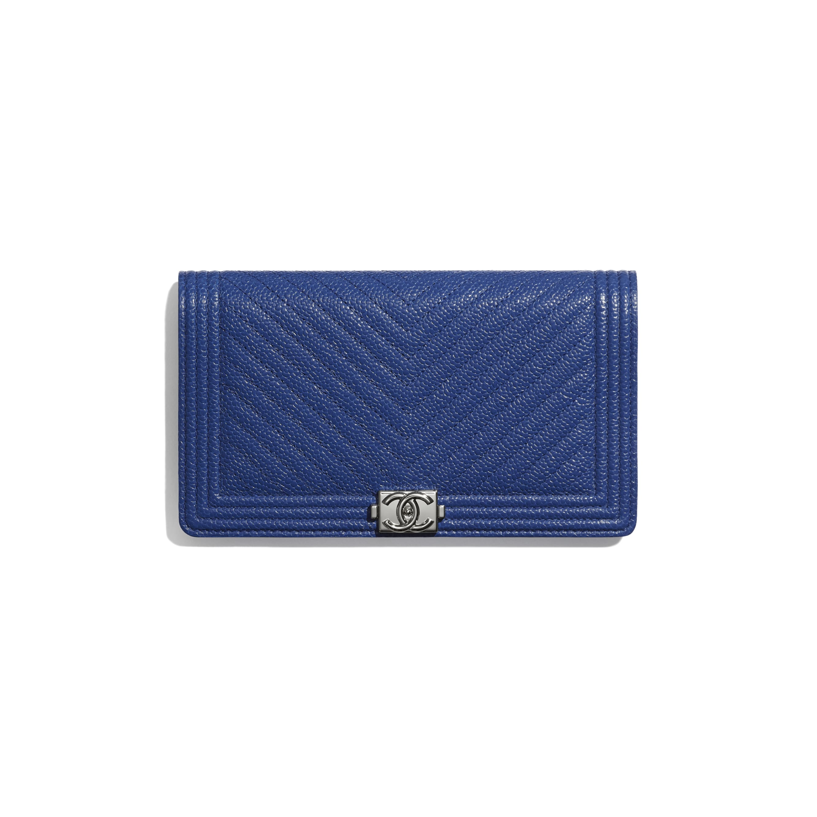 BOY CHANEL Long Flap Wallet - Dark Blue - Shiny Grained Calfskin & Silver-Tone Metal - CHANEL - Default view - see standard sized version